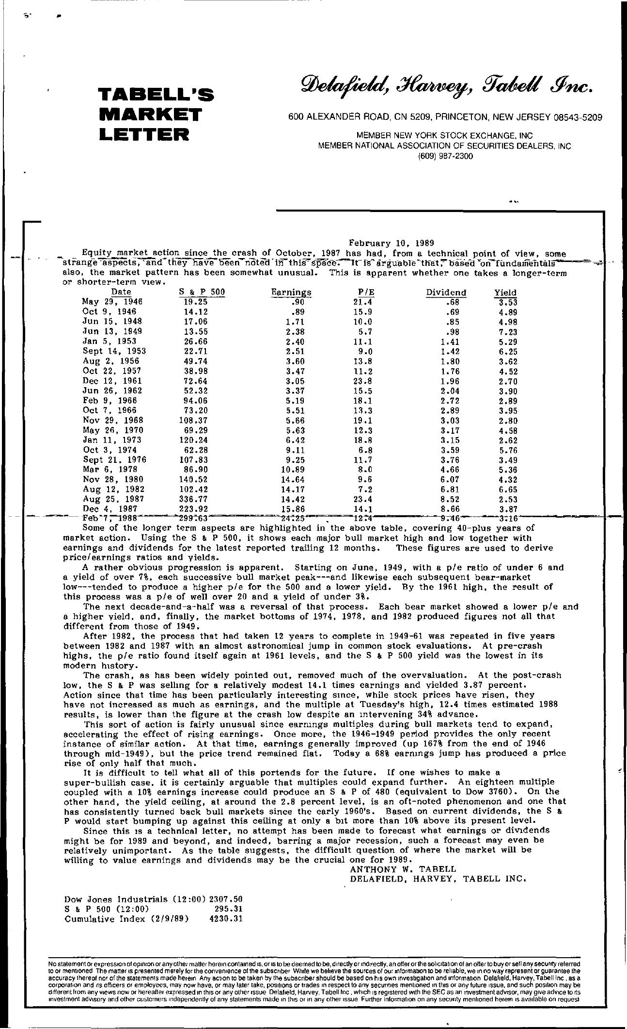 Tabell's Market Letter - February 10, 1989