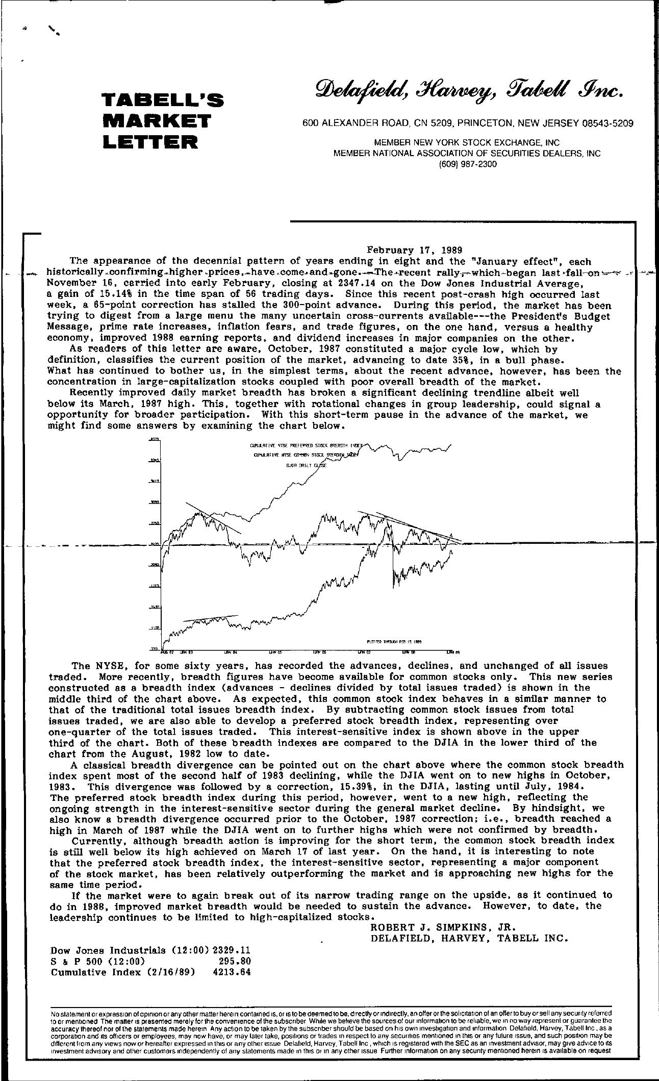 Tabell's Market Letter - February 17, 1989