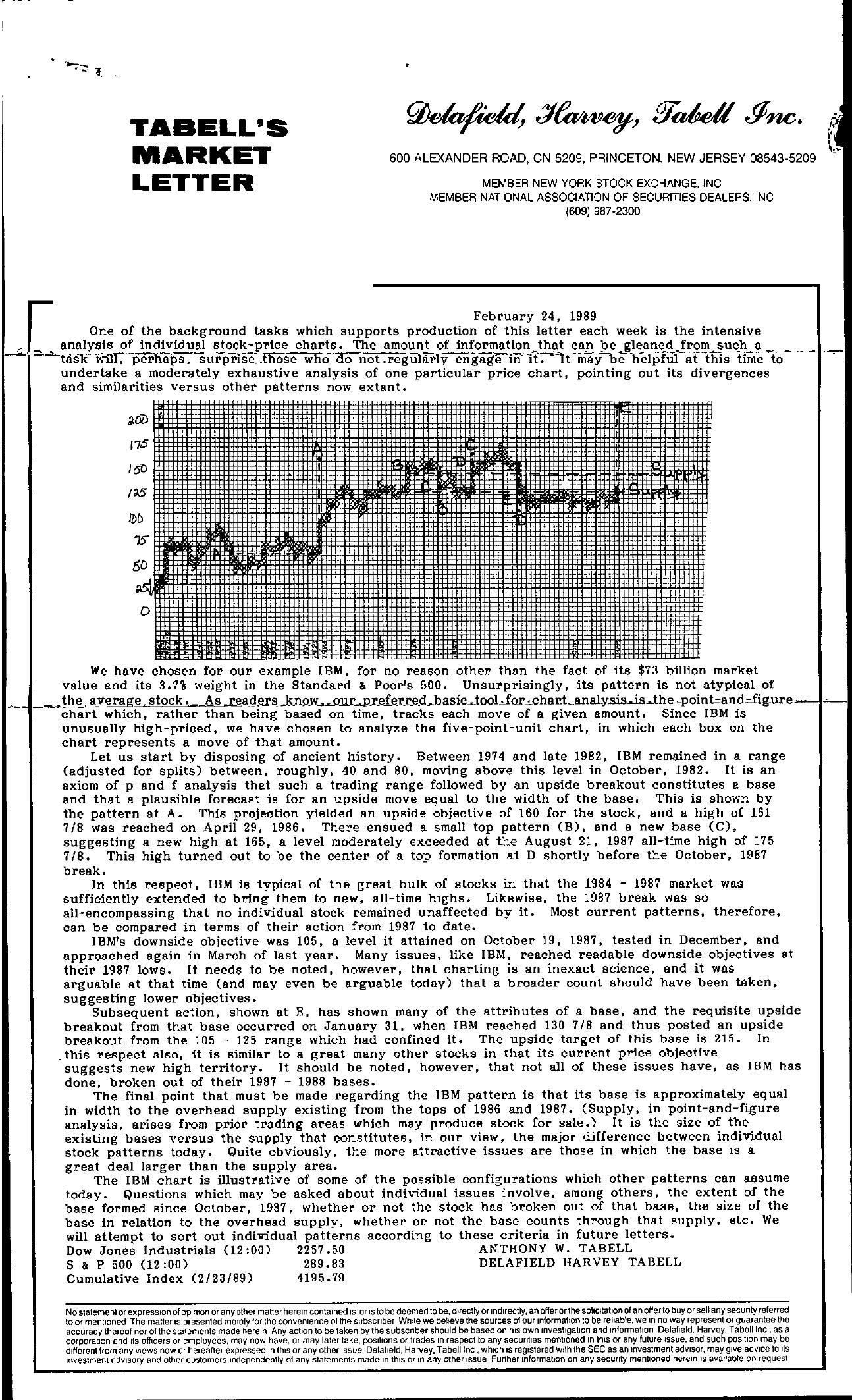 Tabell's Market Letter - February 24, 1989