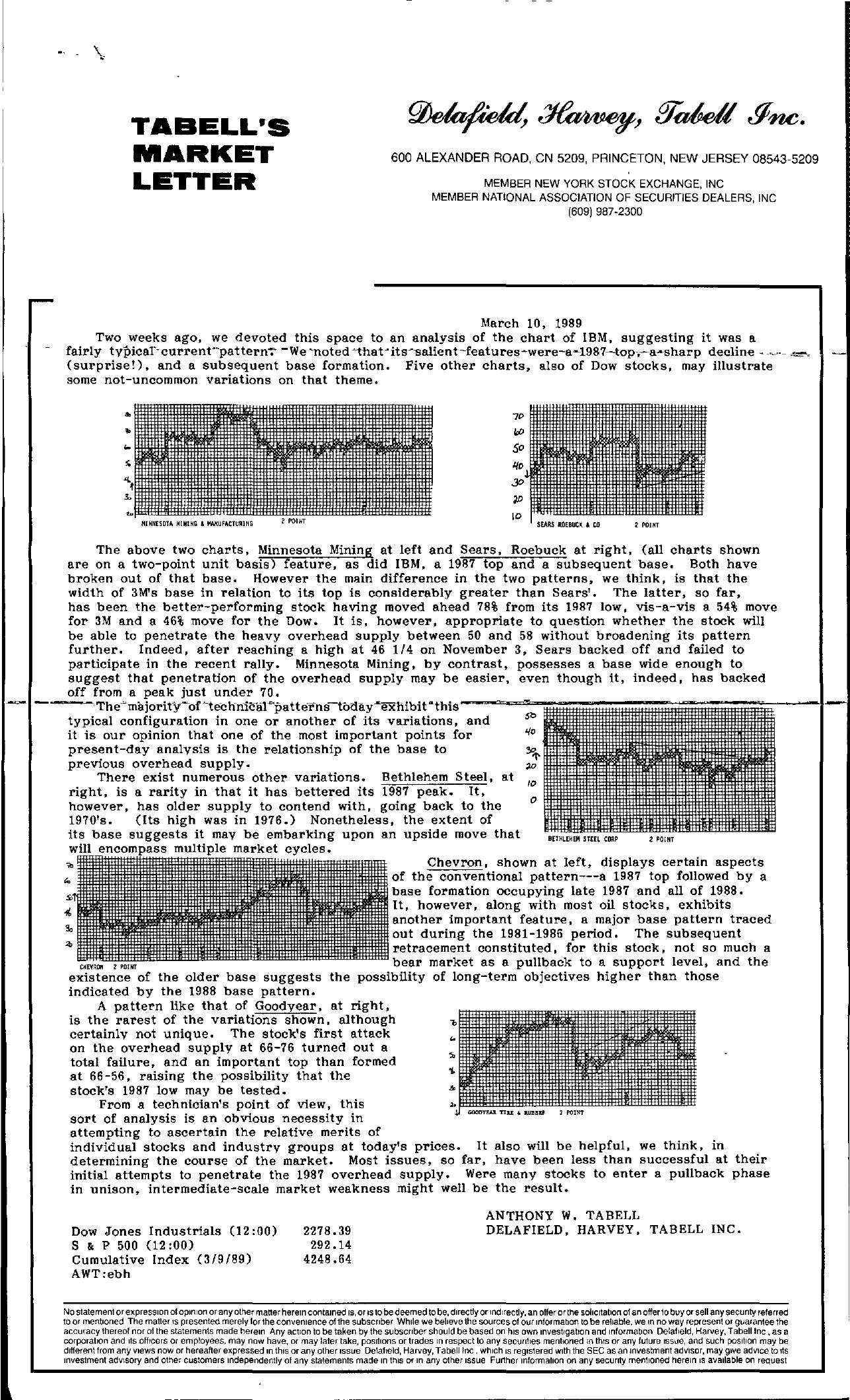Tabell's Market Letter - March 10, 1989