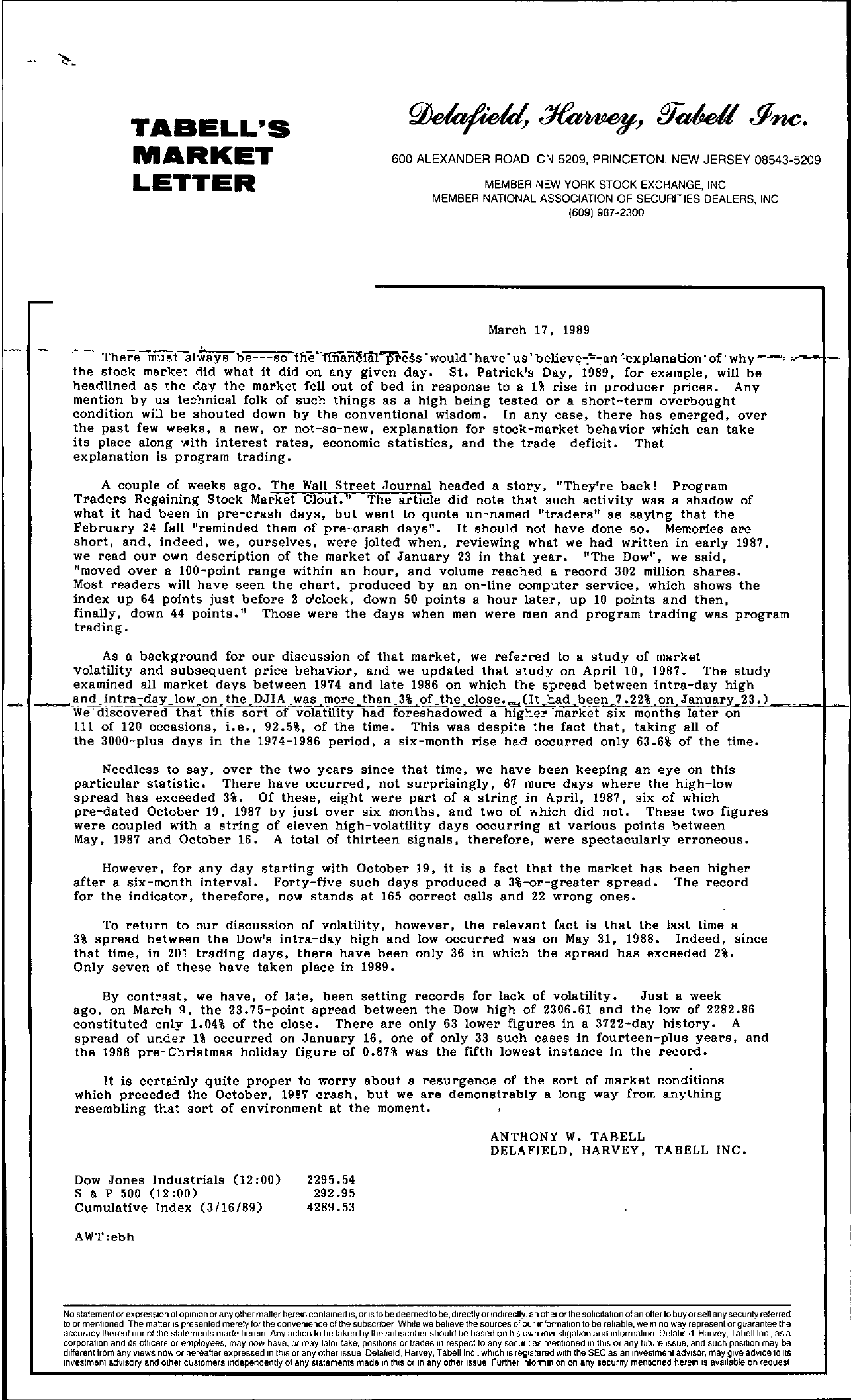 Tabell's Market Letter - March 17, 1989