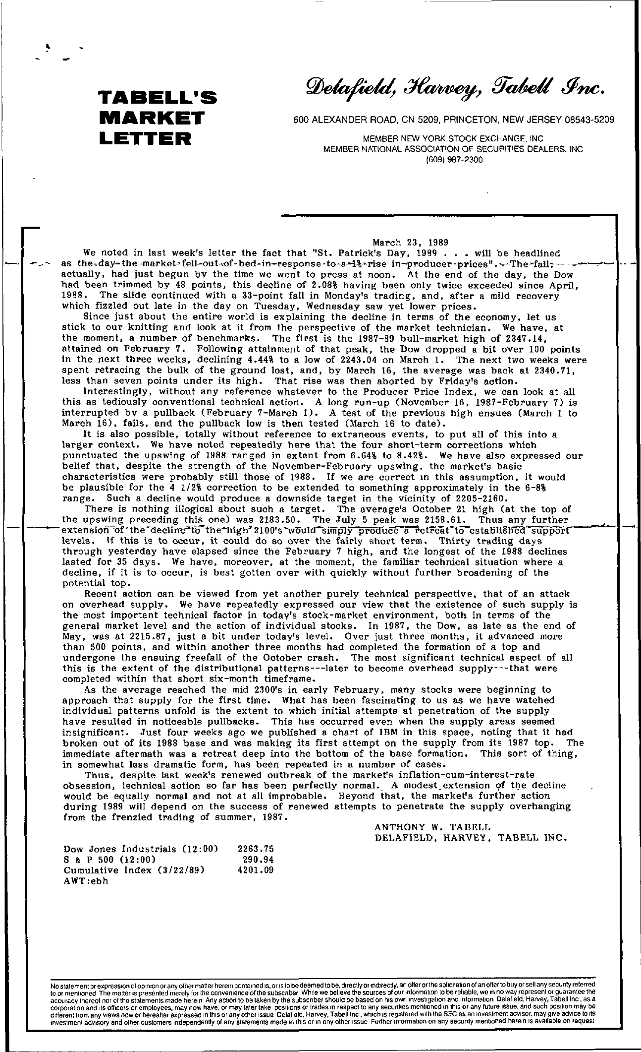 Tabell's Market Letter - March 23, 1989