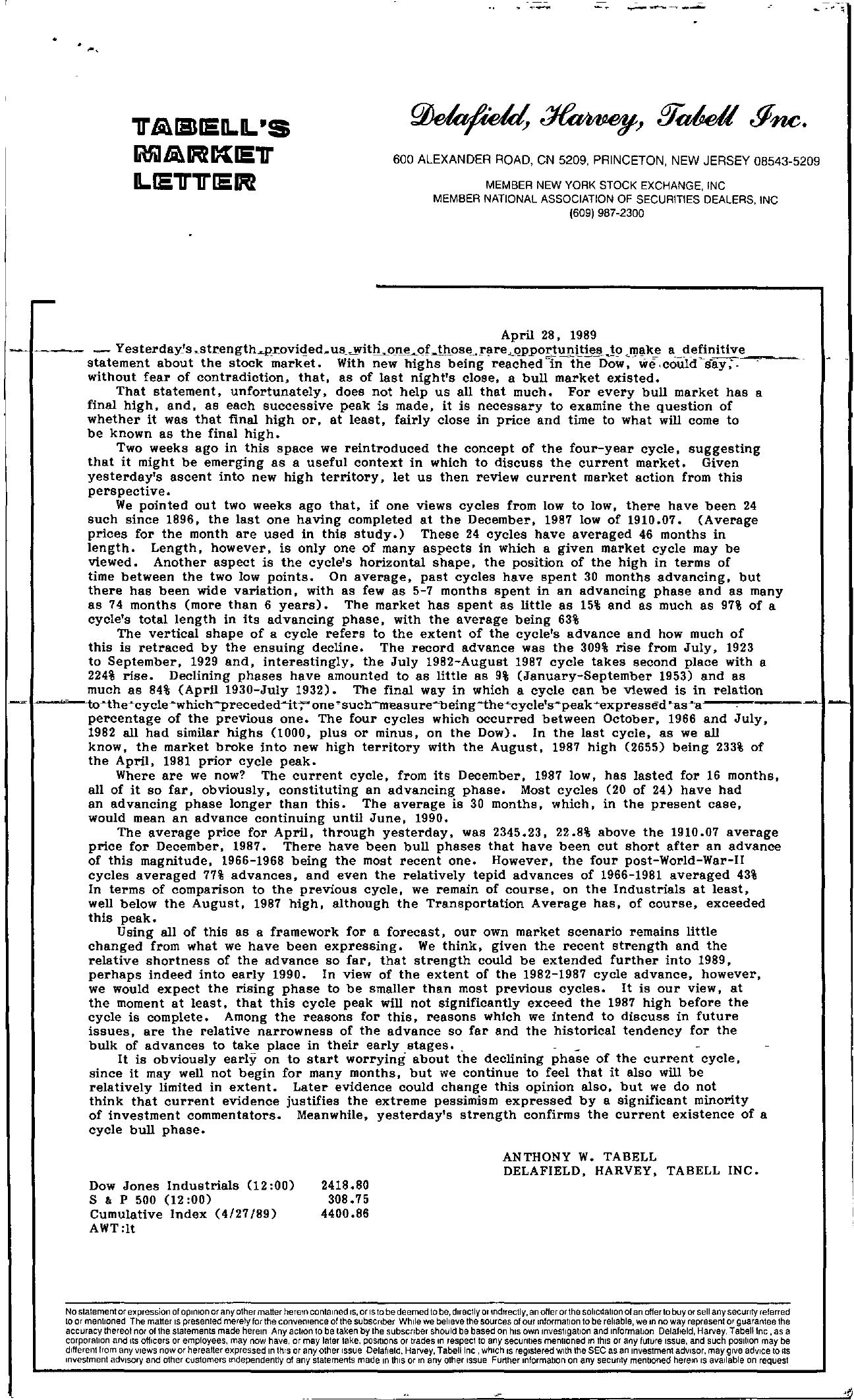 Tabell's Market Letter - April 28, 1989