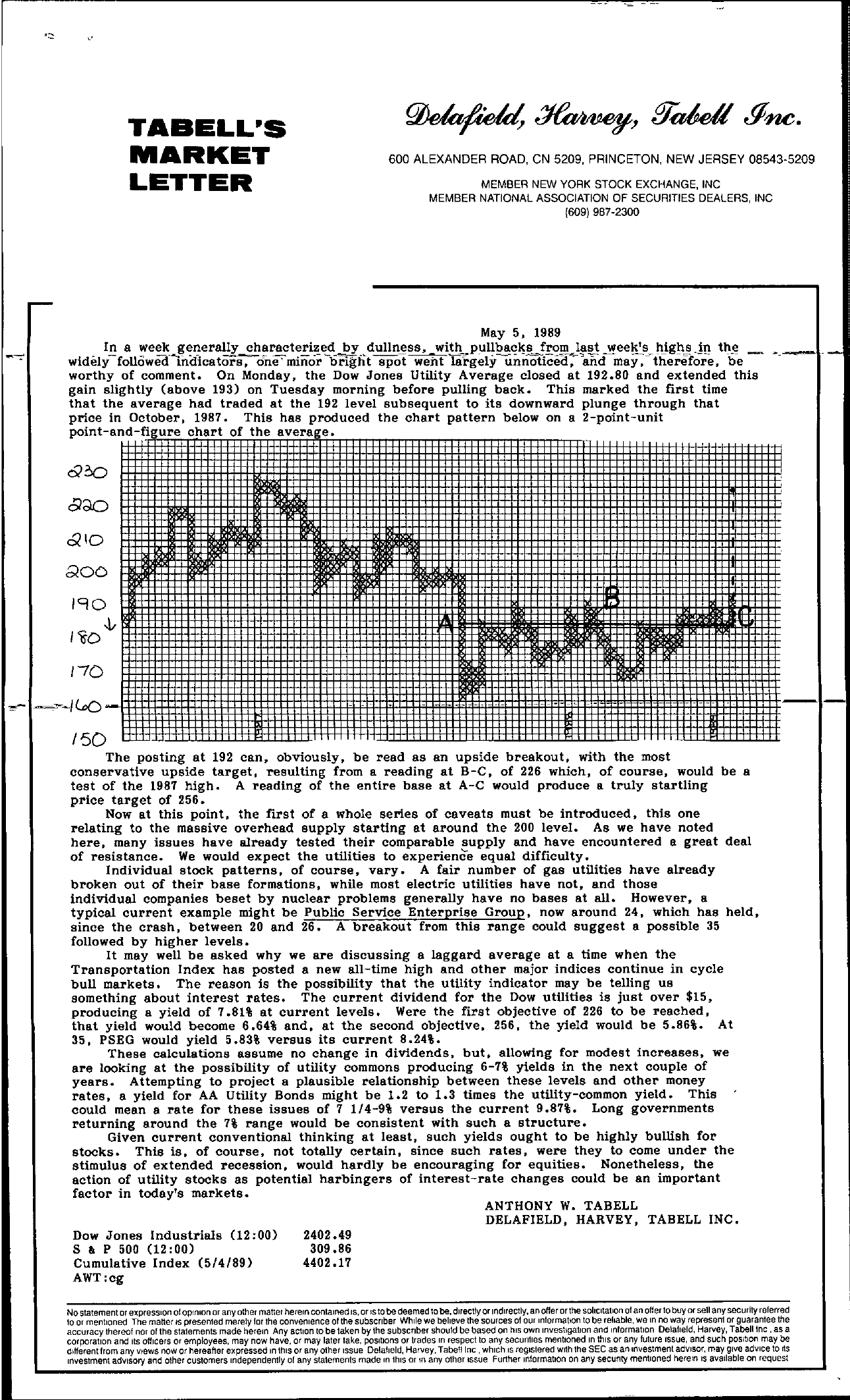 Tabell's Market Letter - May 05, 1989