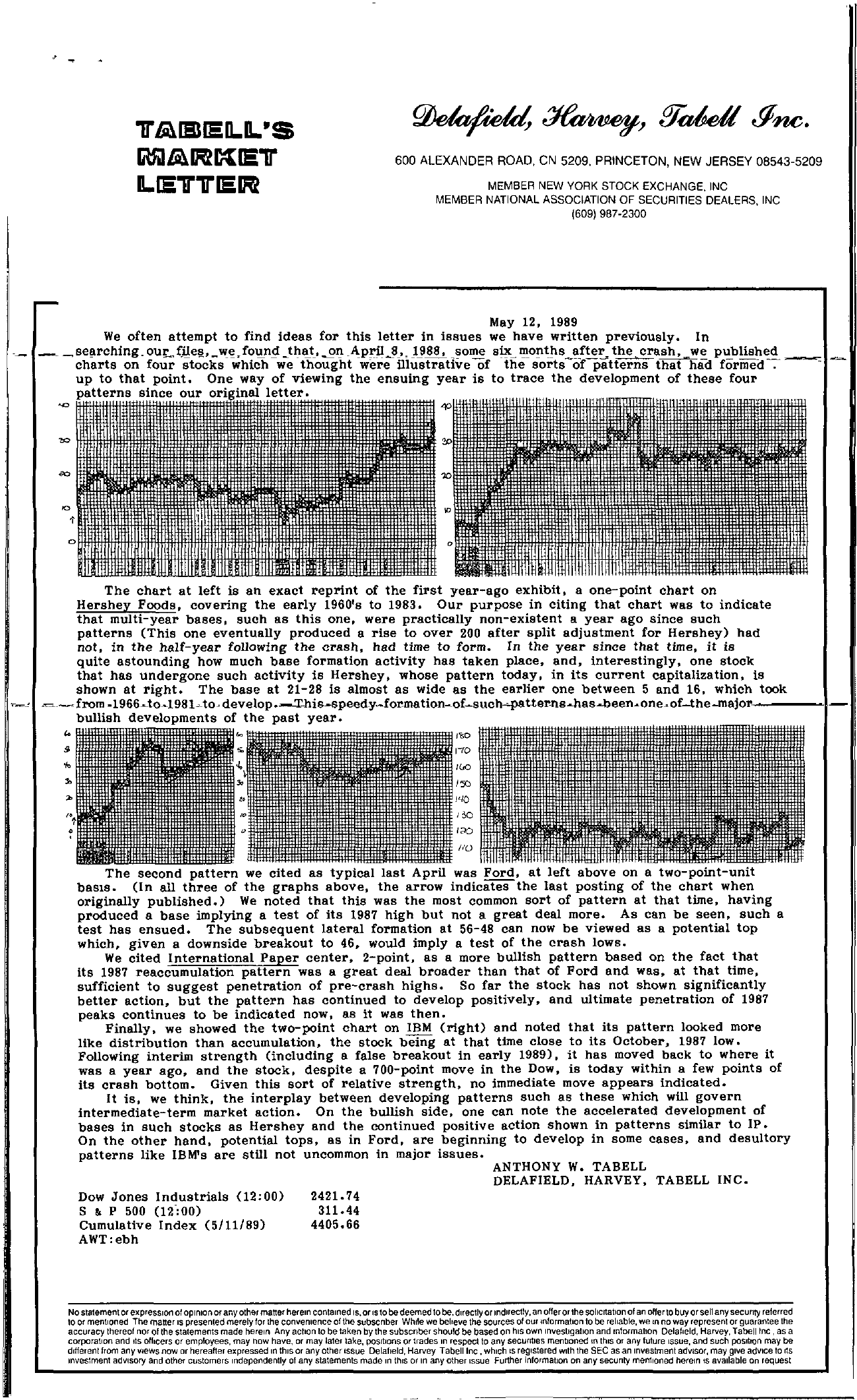 Tabell's Market Letter - May 12, 1989