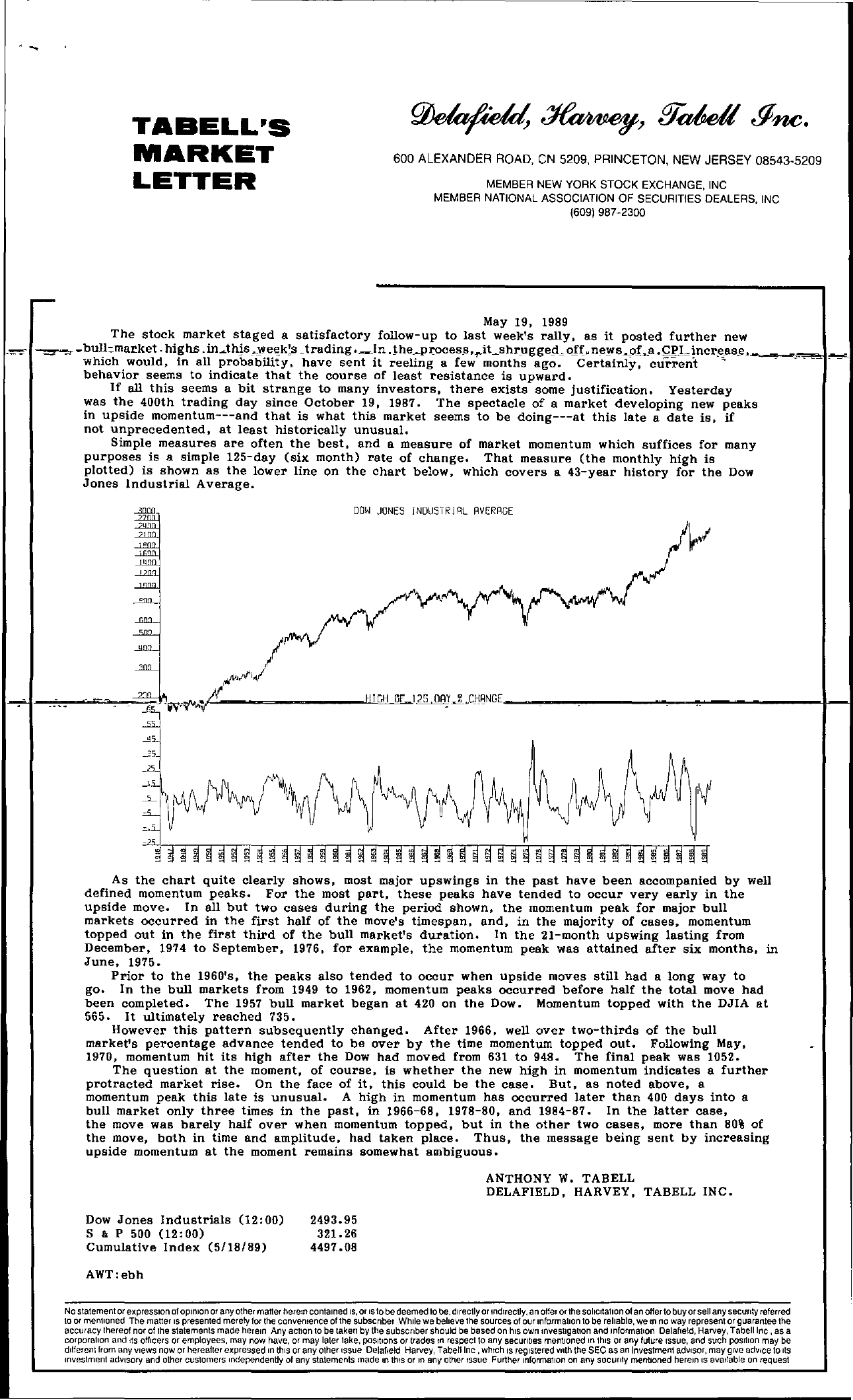 Tabell's Market Letter - May 19, 1989