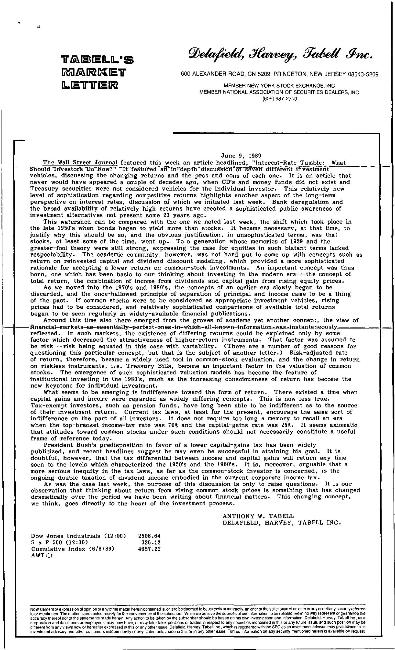 Tabell's Market Letter - June 09, 1989