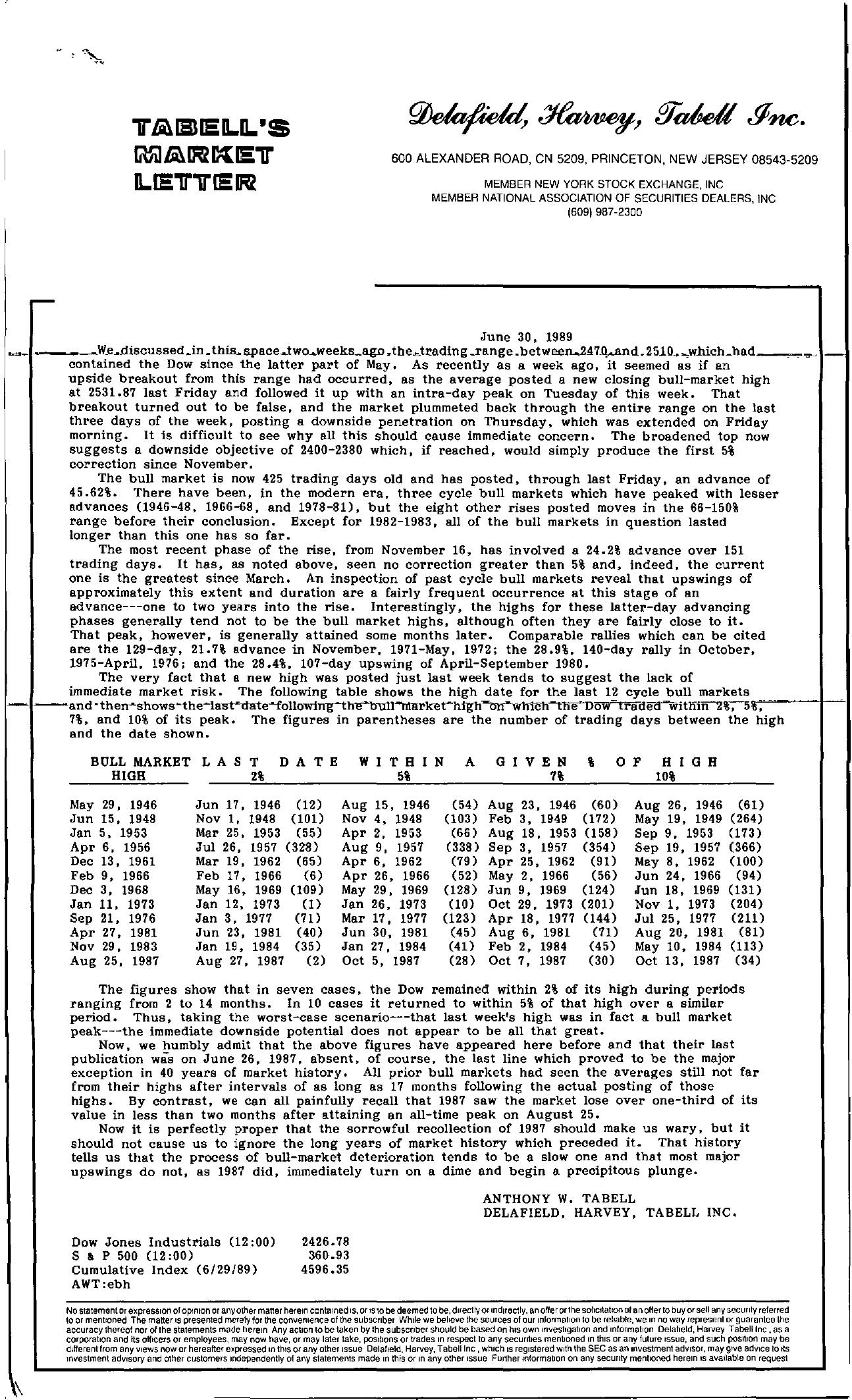 Tabell's Market Letter - June 30, 1989