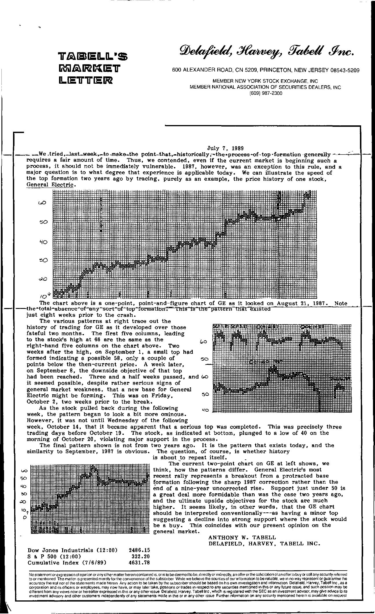 Tabell's Market Letter - July 07, 1989