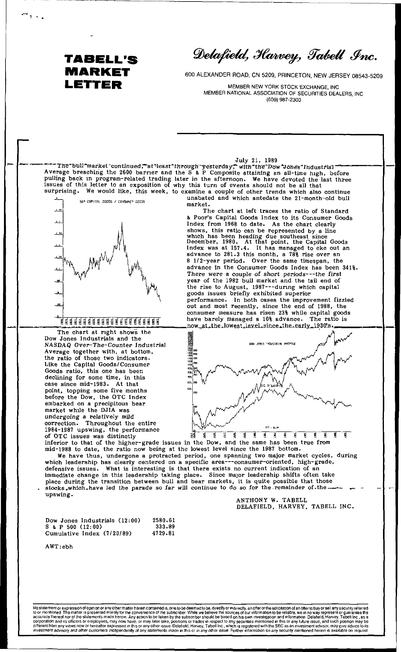 Tabell's Market Letter - July 21, 1989