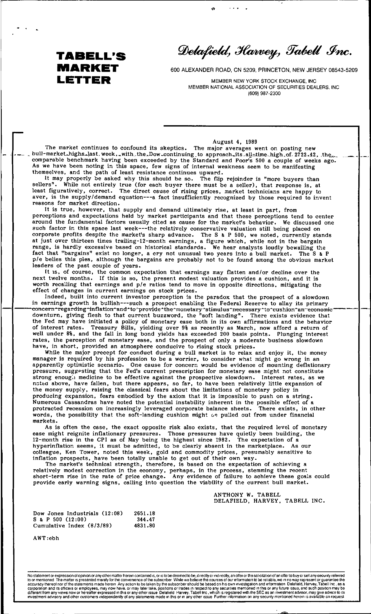 Tabell's Market Letter - August 04, 1989