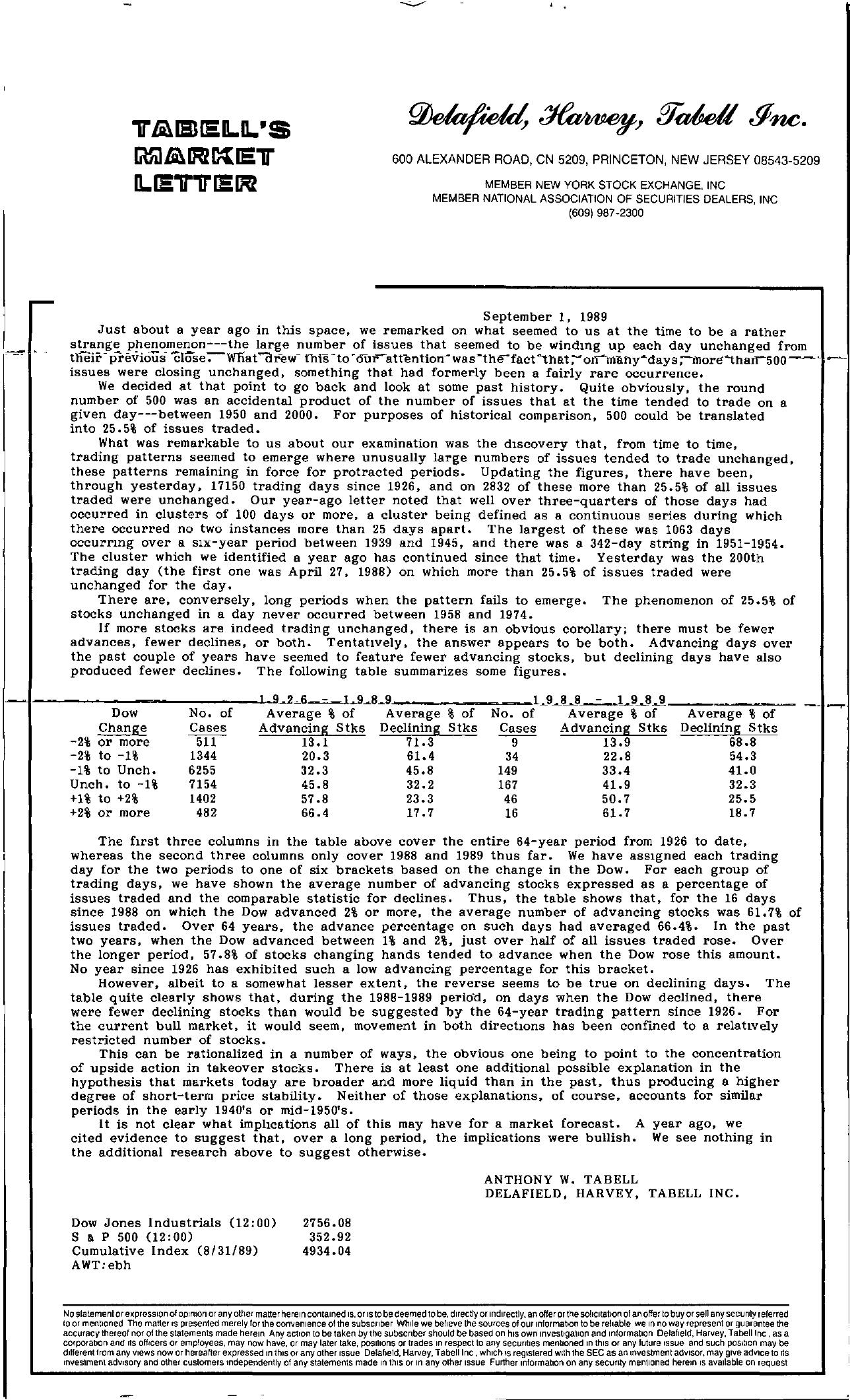 Tabell's Market Letter - September 01, 1989