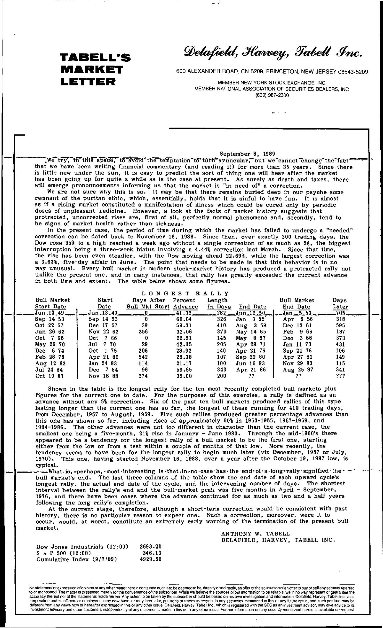 Tabell's Market Letter - September 08, 1989