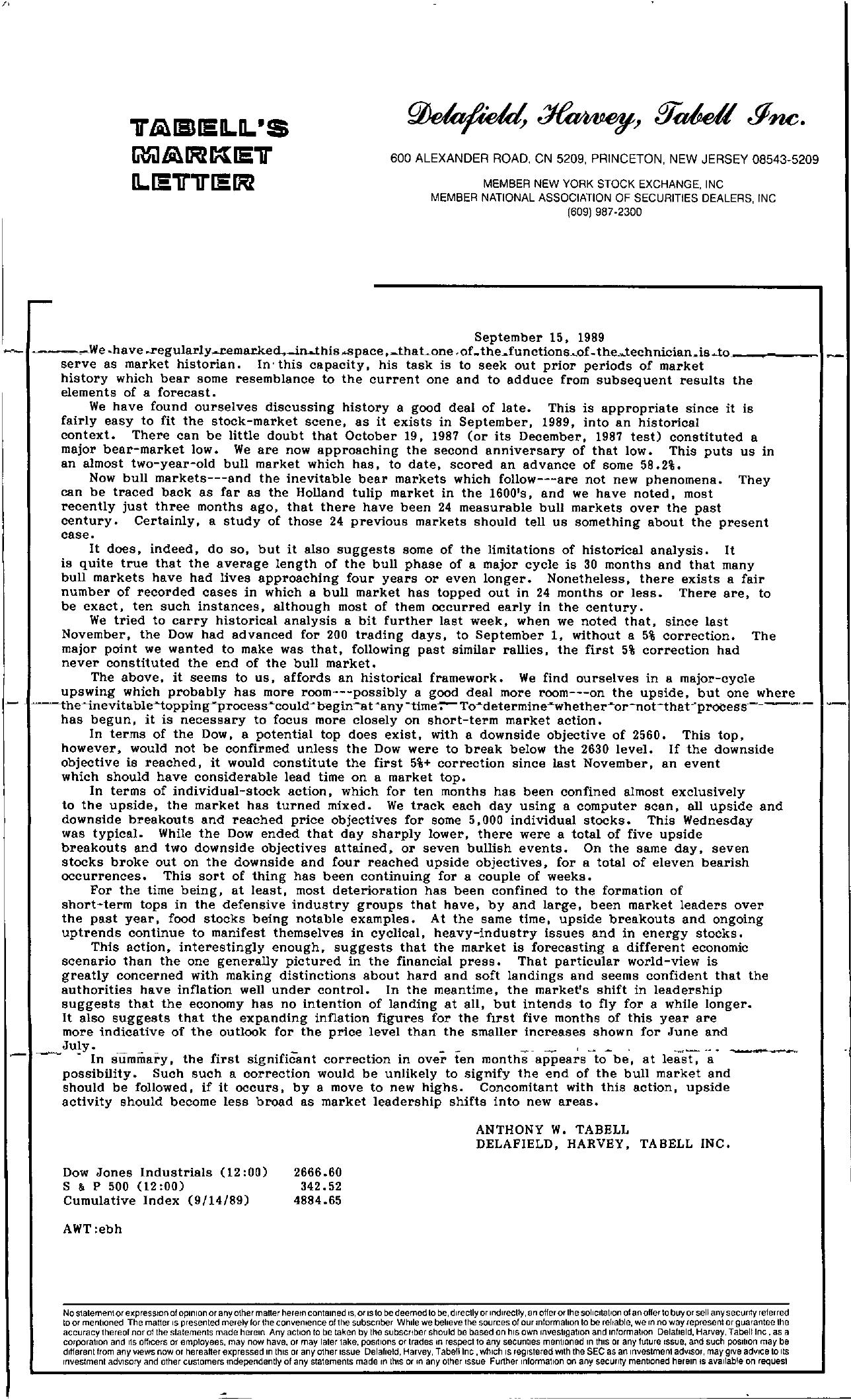 Tabell's Market Letter - September 15, 1989