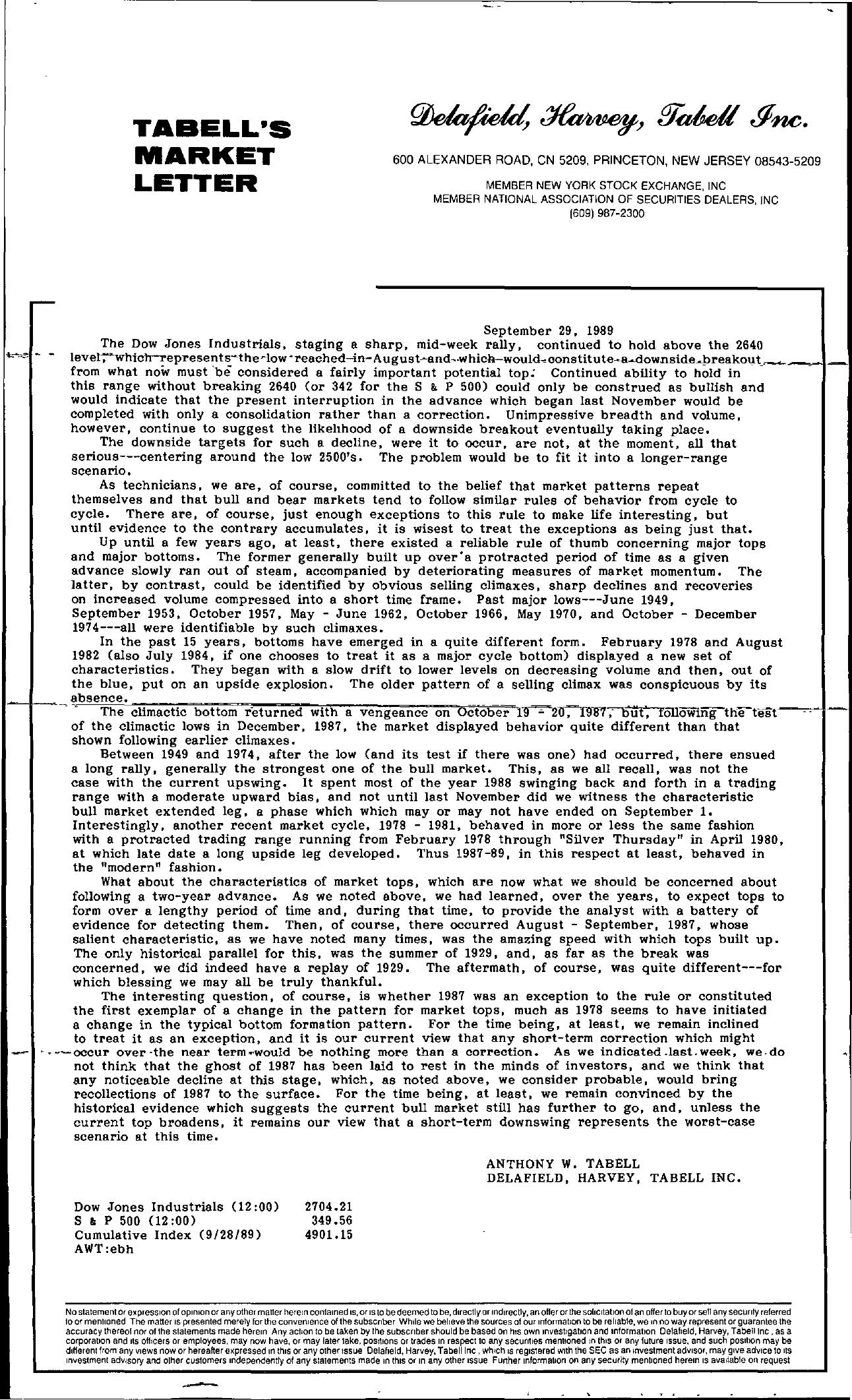 Tabell's Market Letter - September 29, 1989
