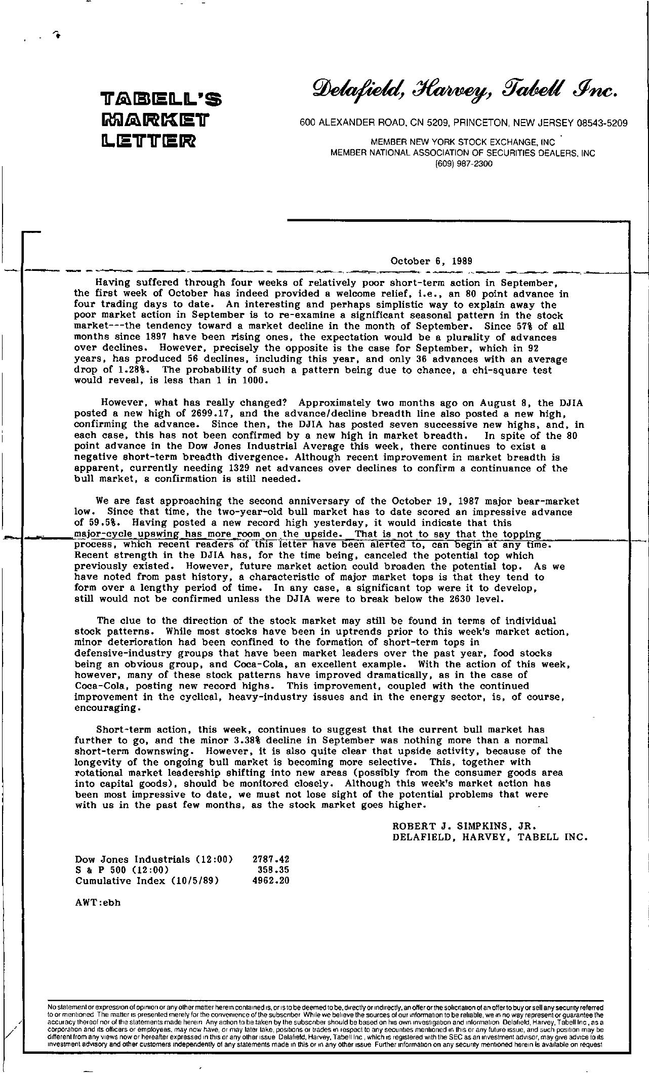 Tabell's Market Letter - October 06, 1989