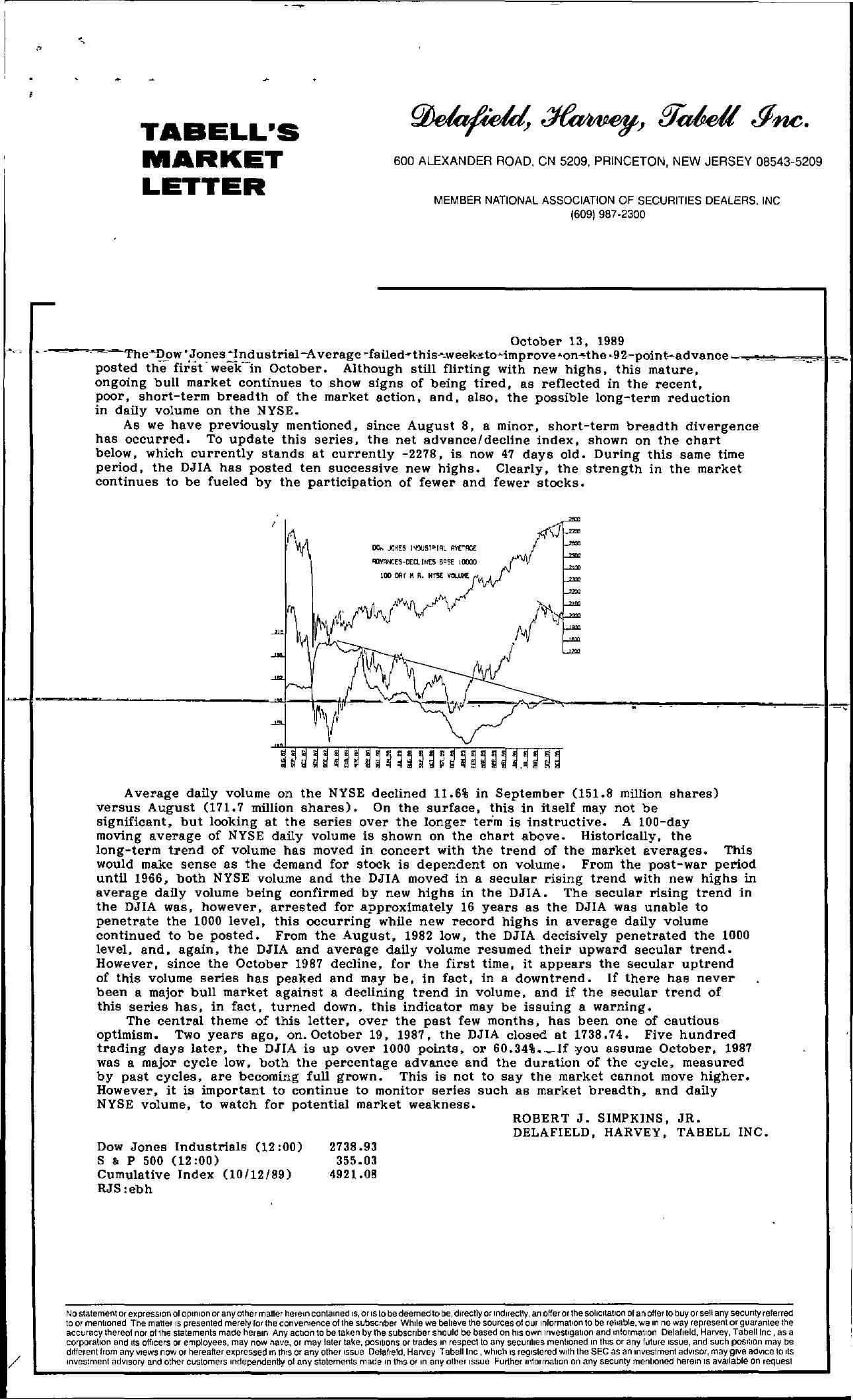 Tabell's Market Letter - October 13, 1989