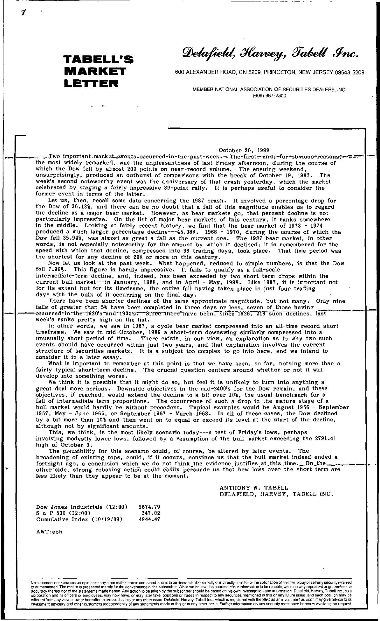 Tabell's Market Letter - October 20, 1989