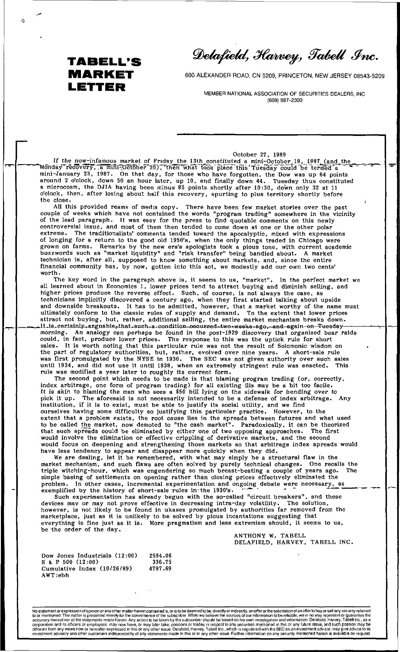 Tabell's Market Letter - October 27, 1989