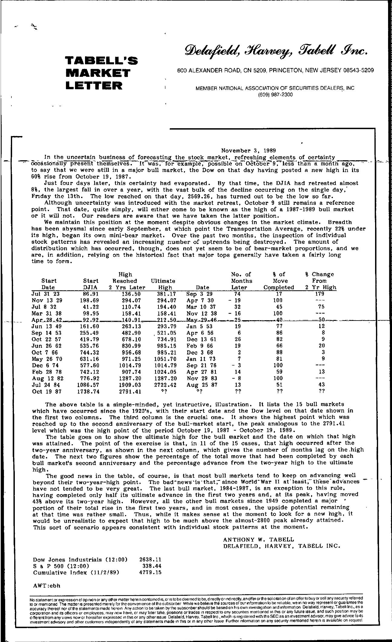 Tabell's Market Letter - November 03, 1989