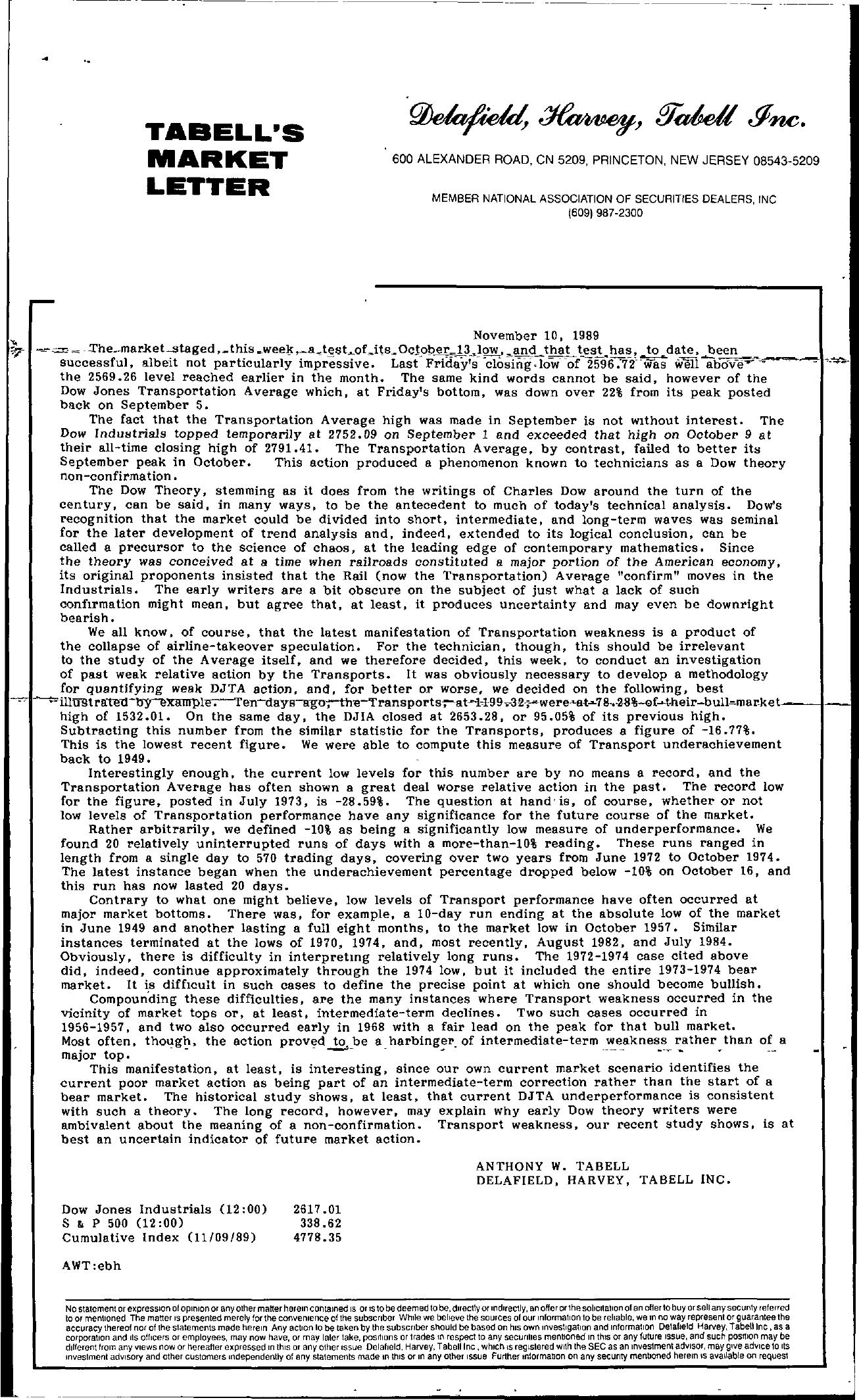 Tabell's Market Letter - November 10, 1989