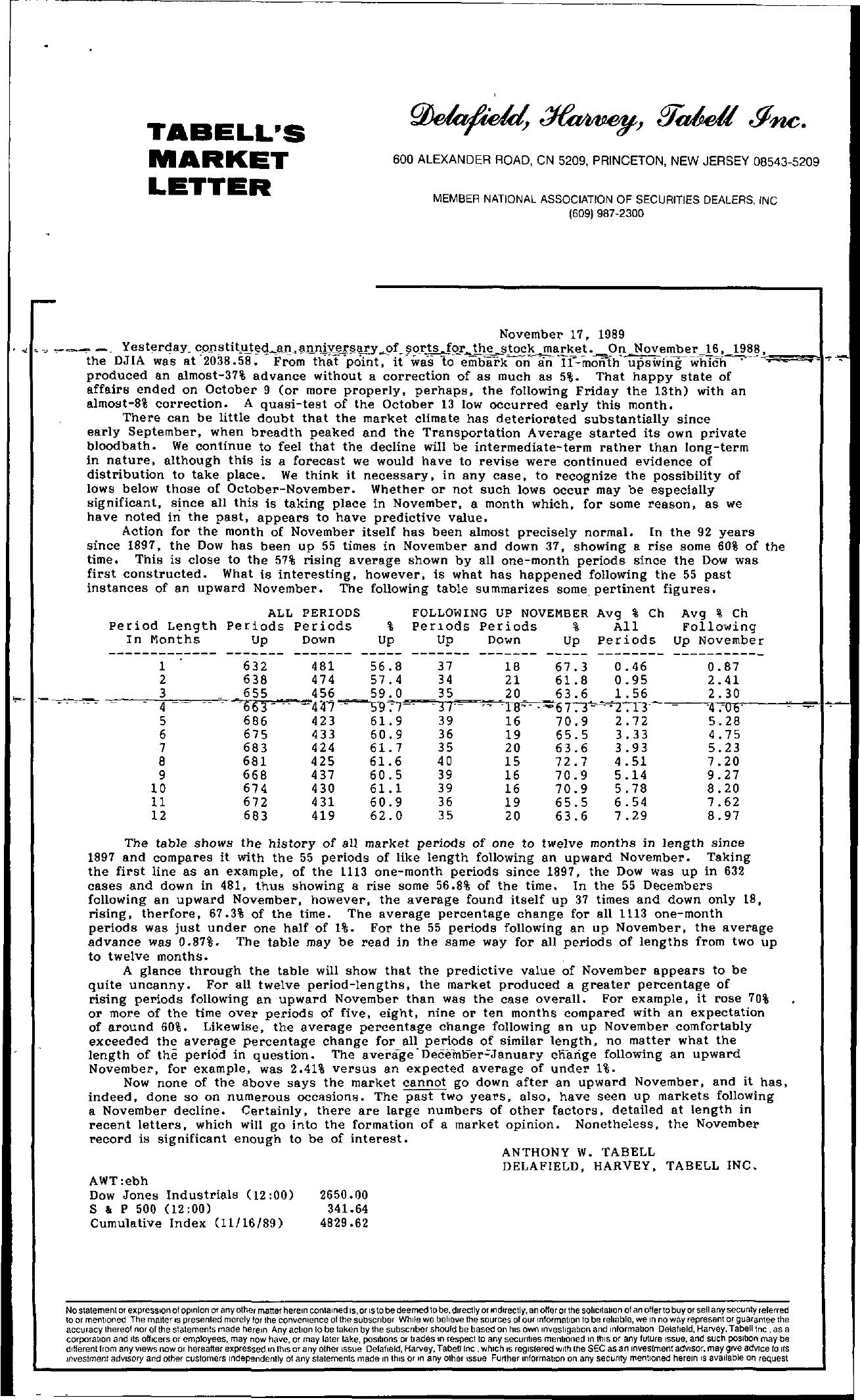 Tabell's Market Letter - November 17, 1989