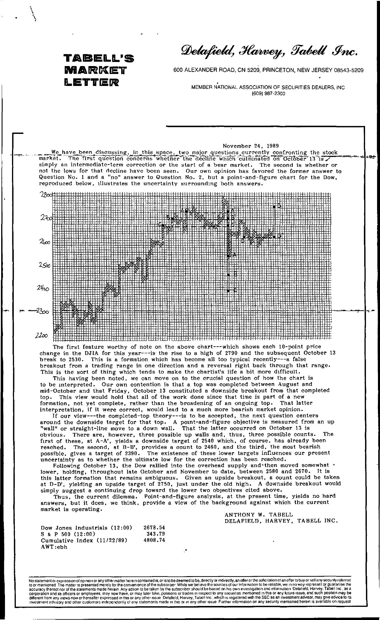 Tabell's Market Letter - November 24, 1989