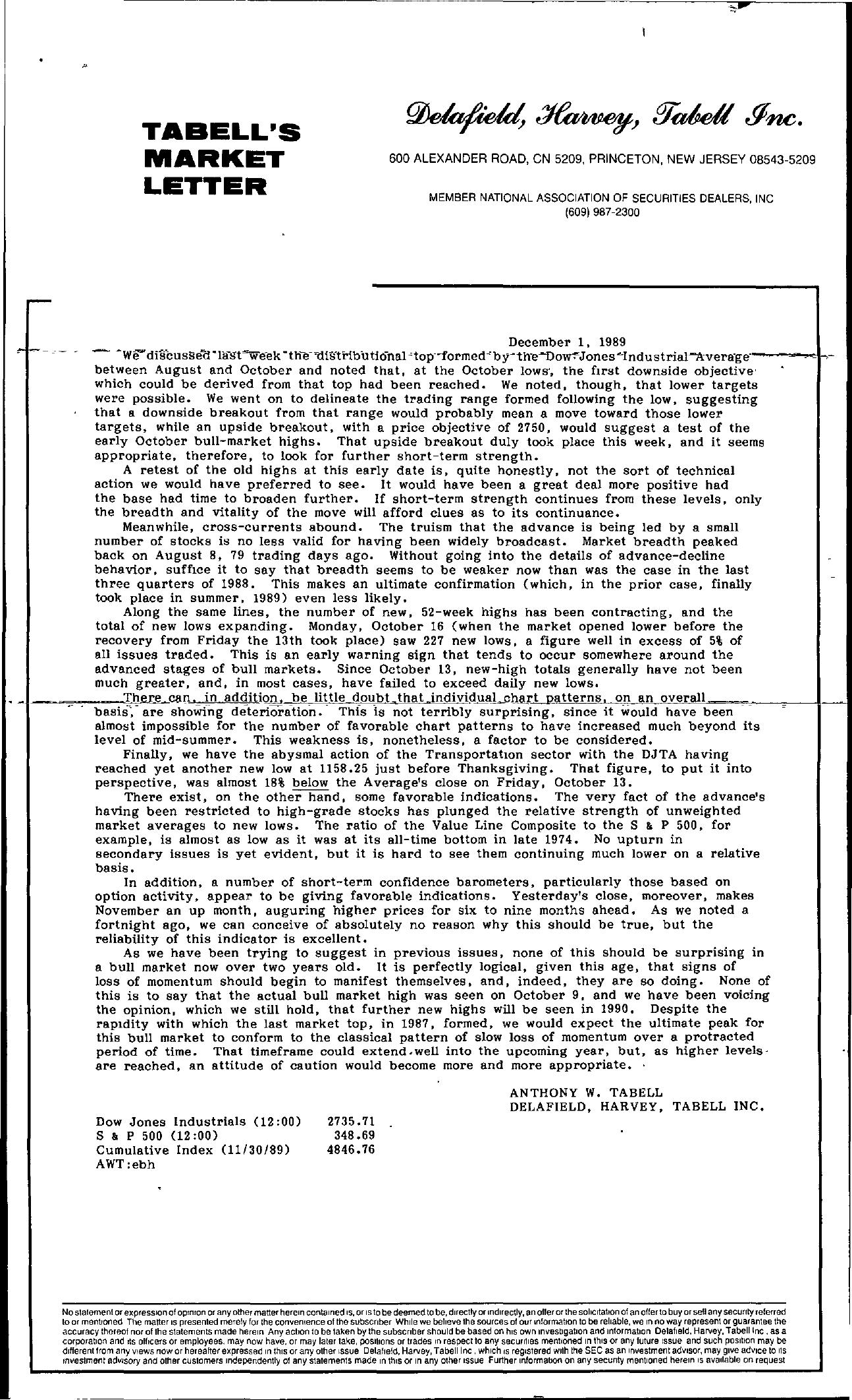 Tabell's Market Letter - December 01, 1989