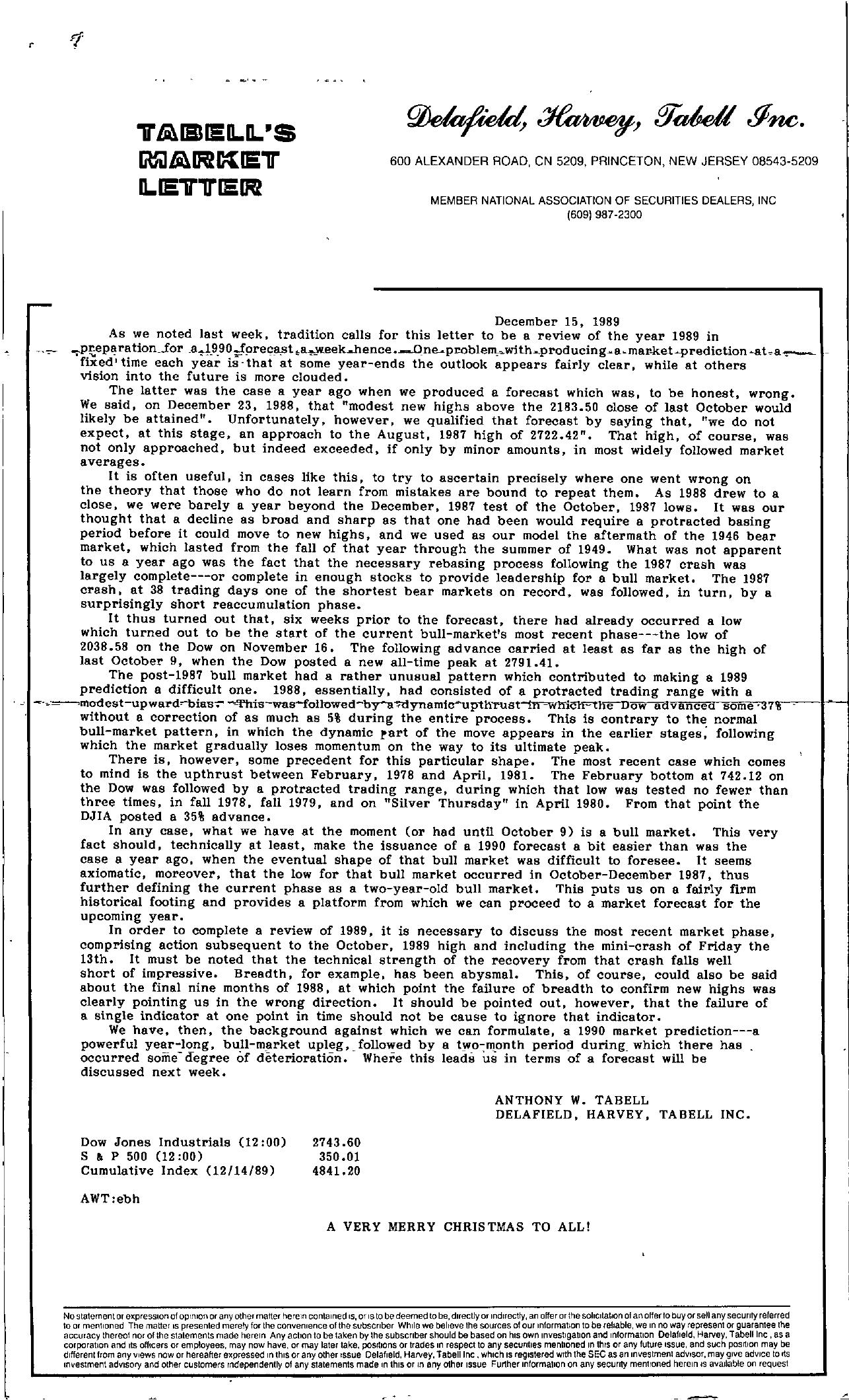 Tabell's Market Letter - December 15, 1989
