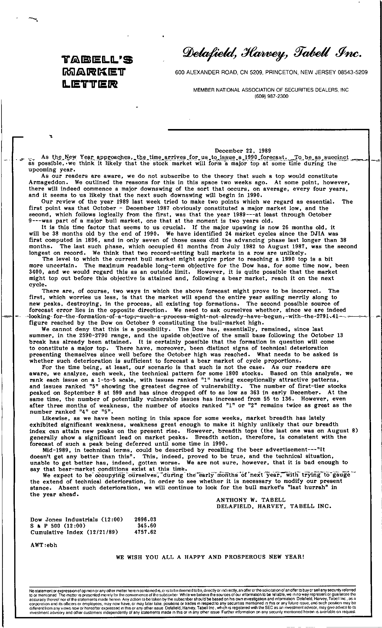 Tabell's Market Letter - December 22, 1989