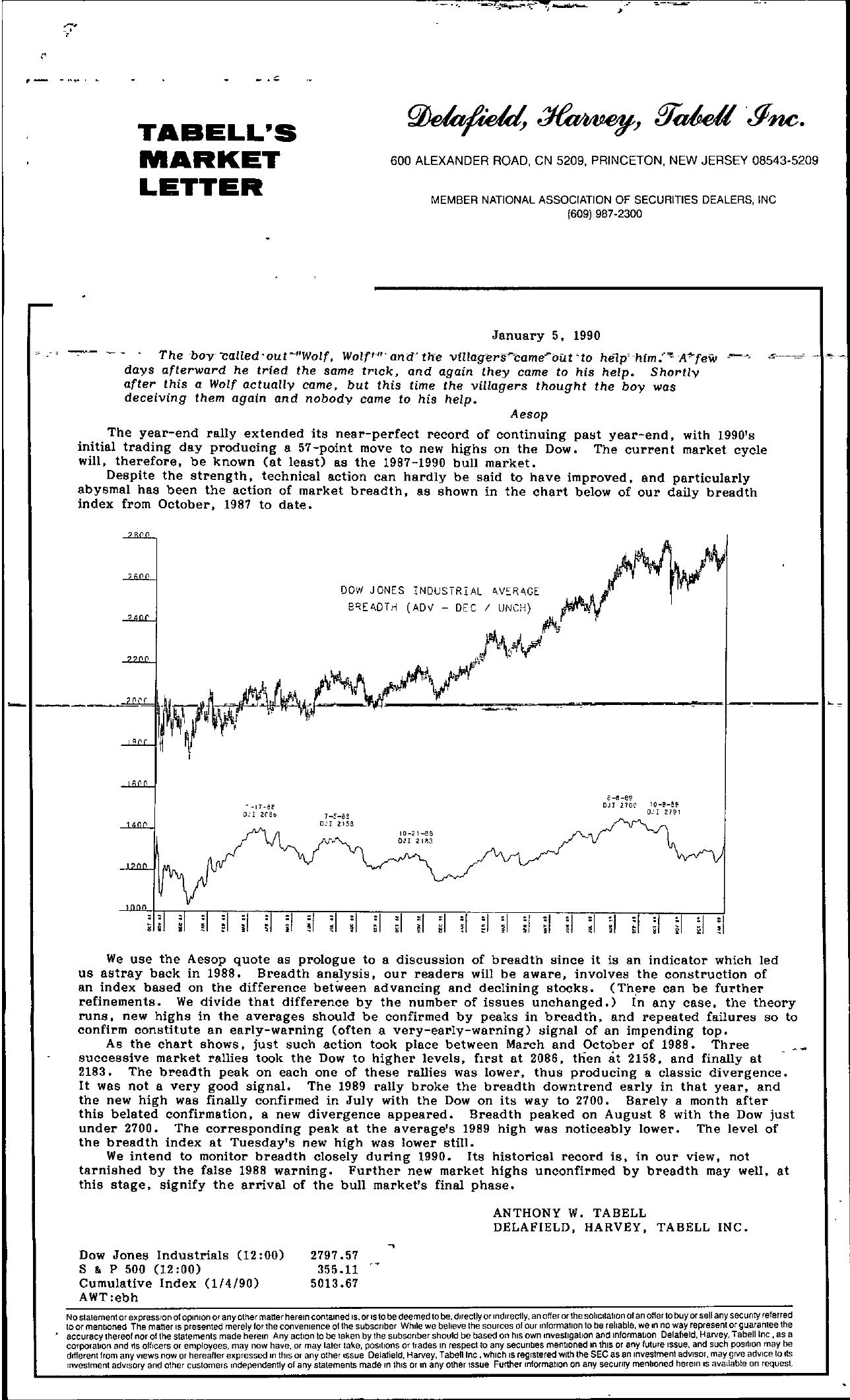 Tabell's Market Letter - January 05, 1990