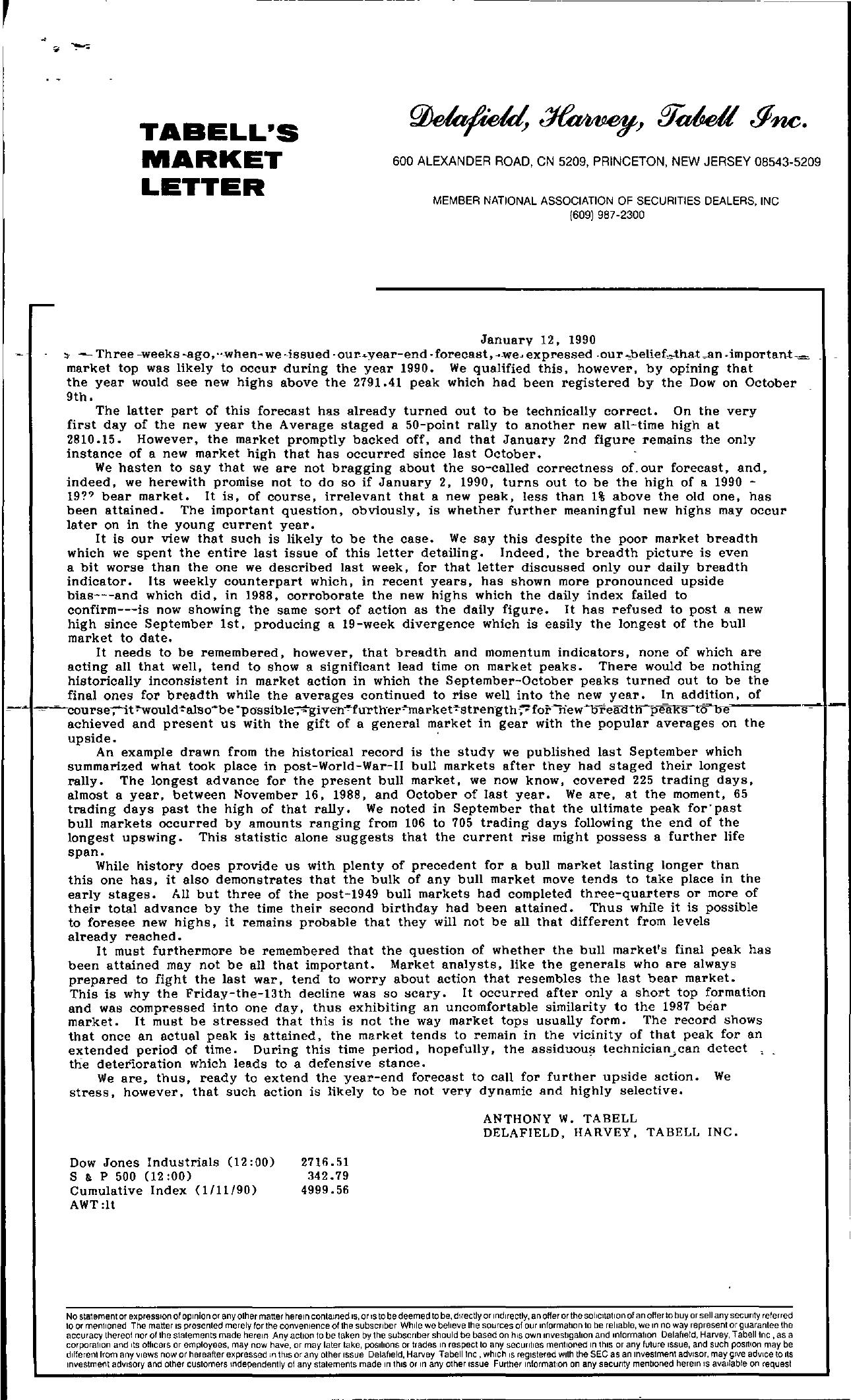 Tabell's Market Letter - January 12, 1990