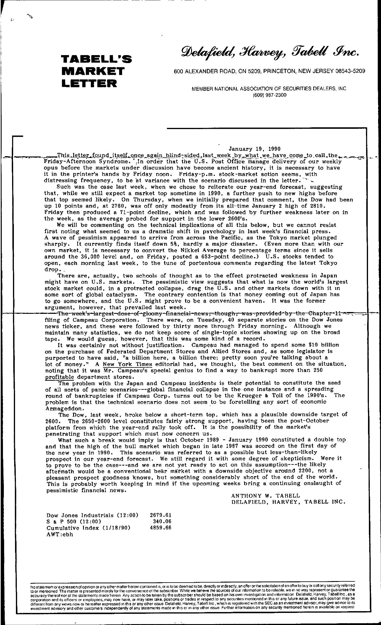 Tabell's Market Letter - January 19, 1990