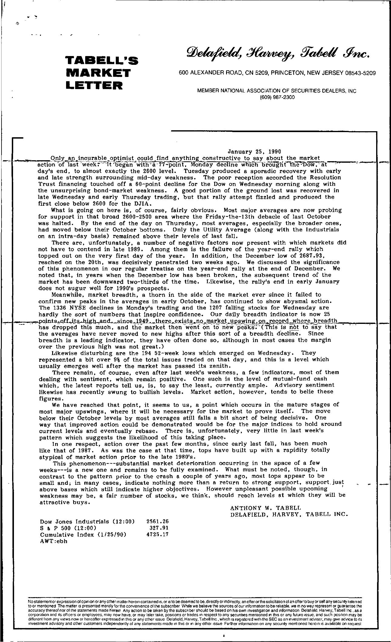 Tabell's Market Letter - January 25, 1990