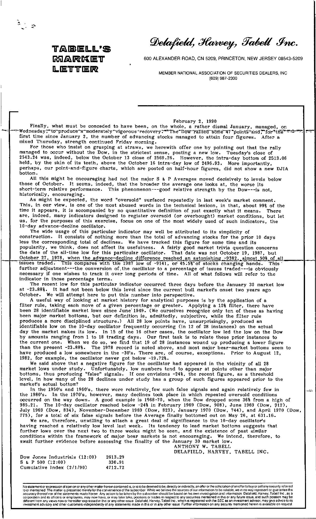 Tabell's Market Letter - February 02, 1990