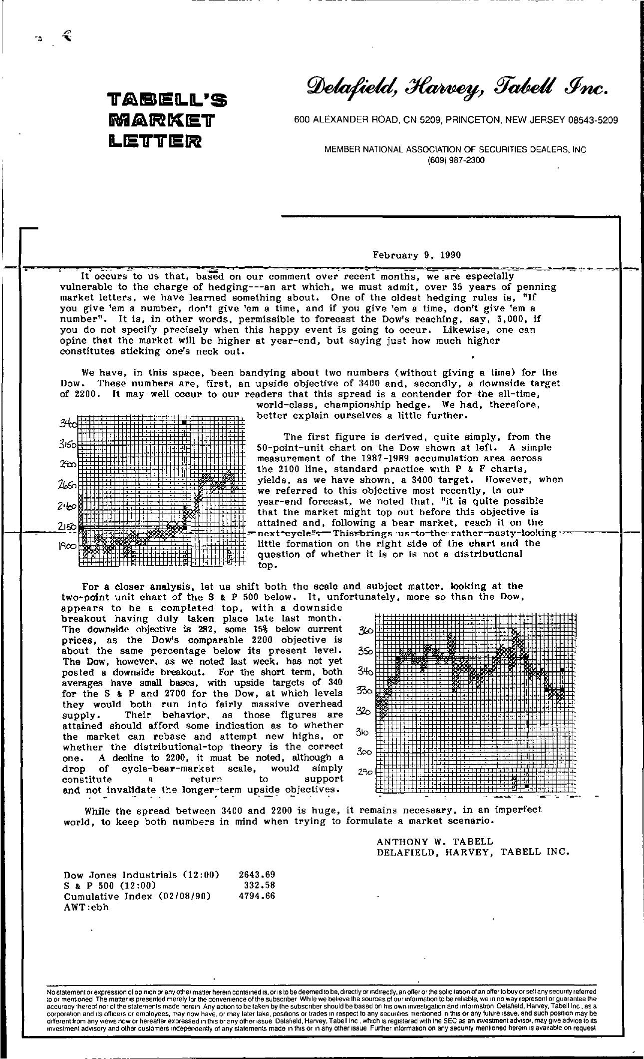 Tabell's Market Letter - February 09, 1990