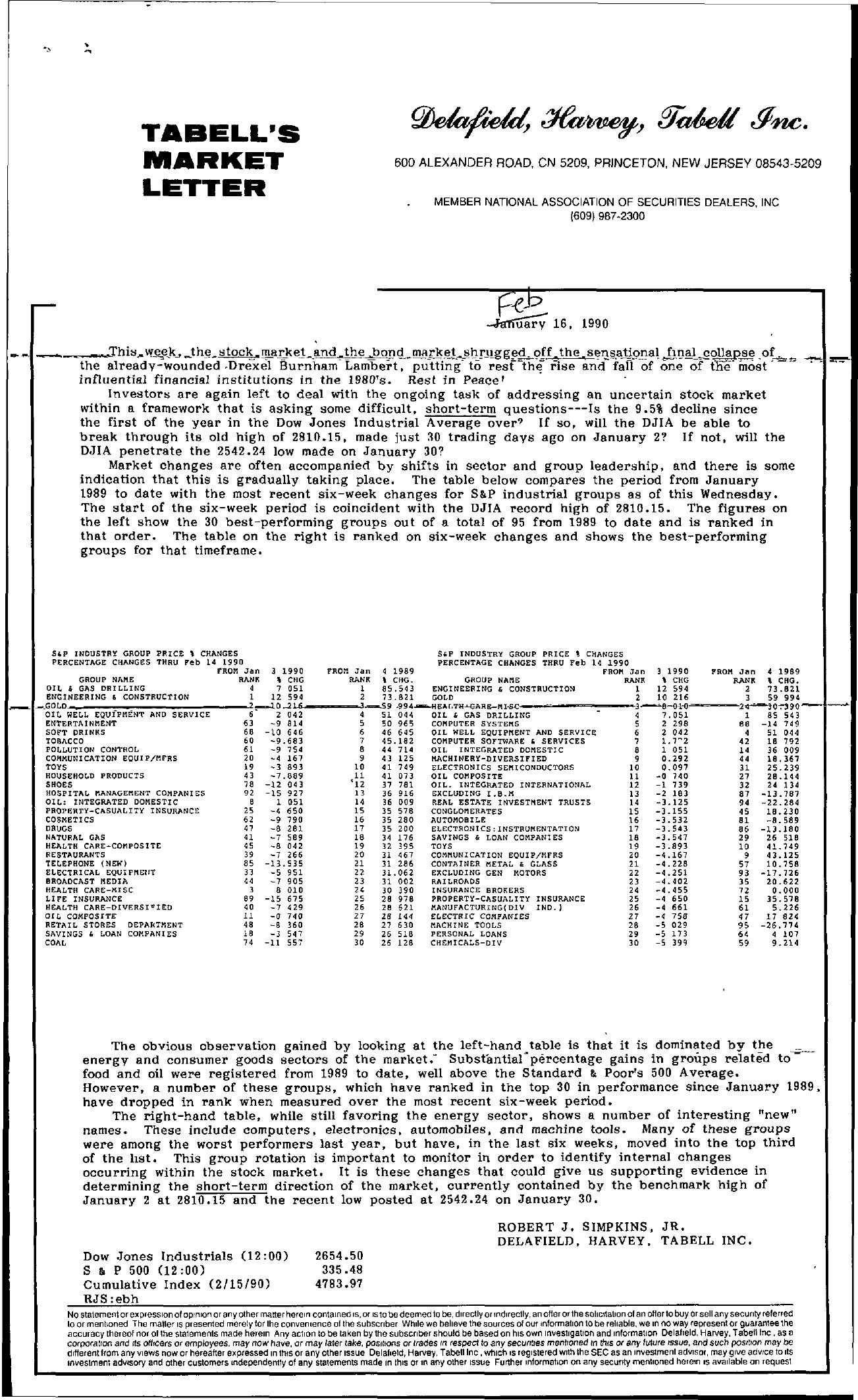 Tabell's Market Letter - February 16, 1990