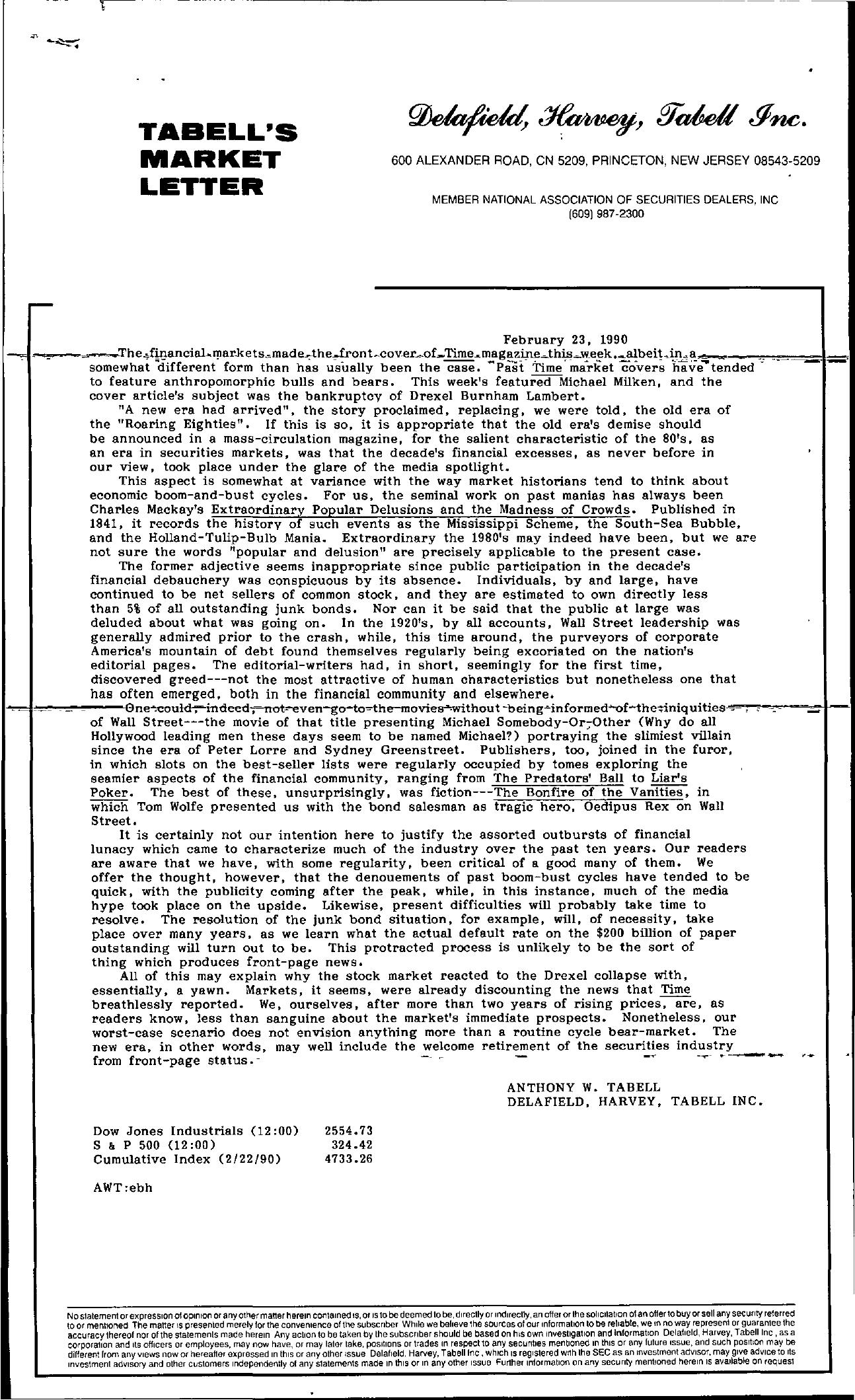 Tabell's Market Letter - February 23, 1990