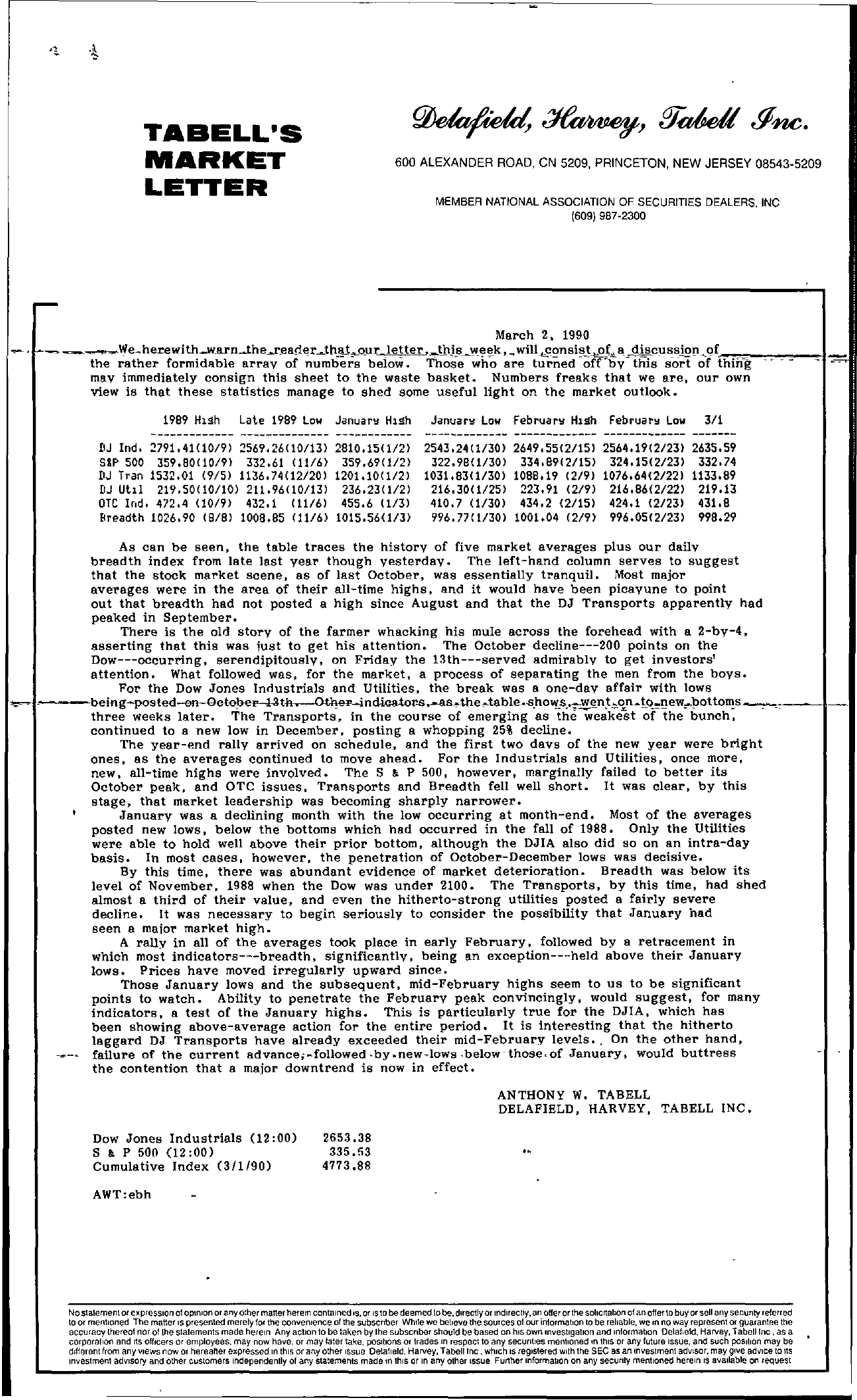 Tabell's Market Letter - March 02, 1990