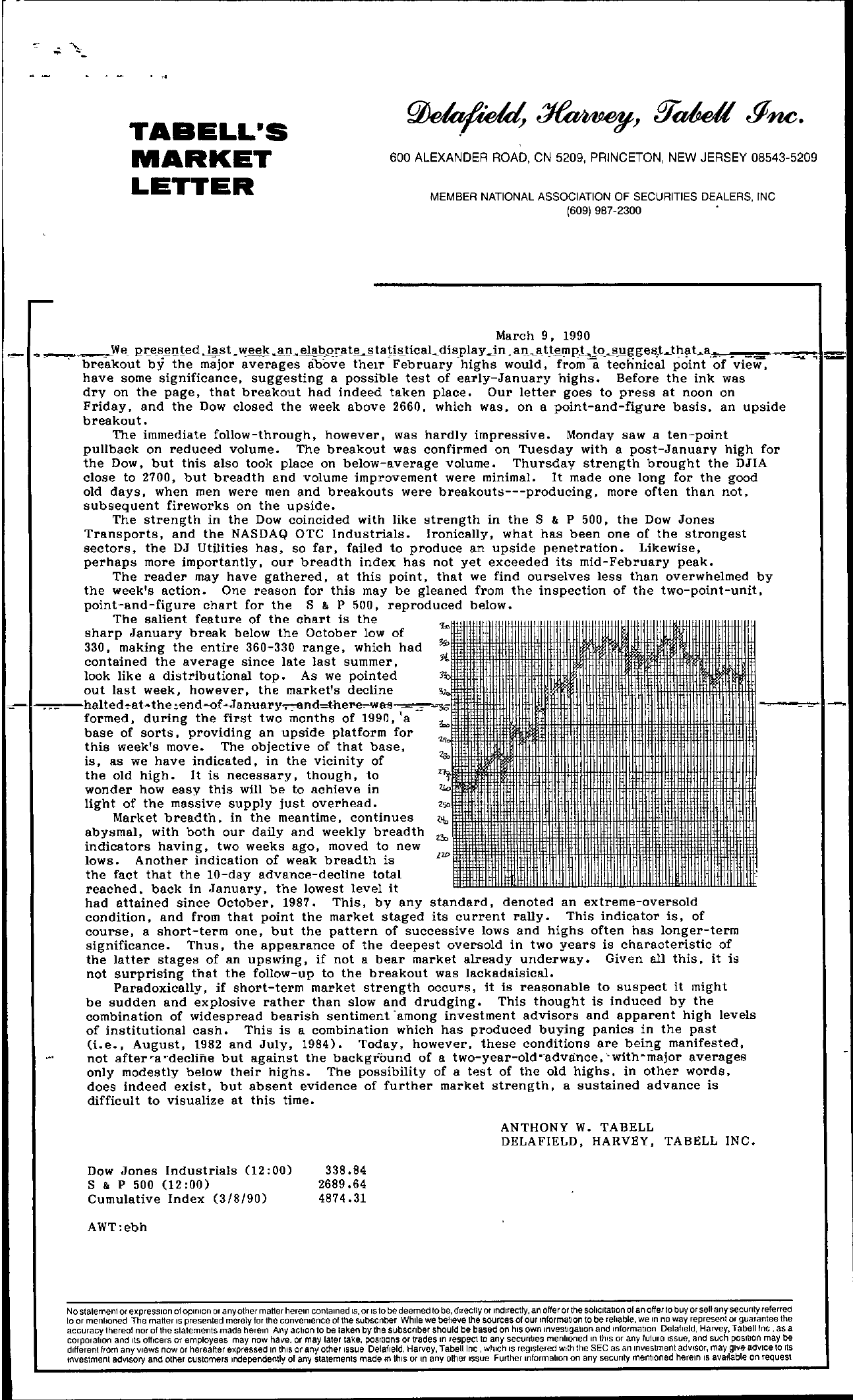 Tabell's Market Letter - March 09, 1990