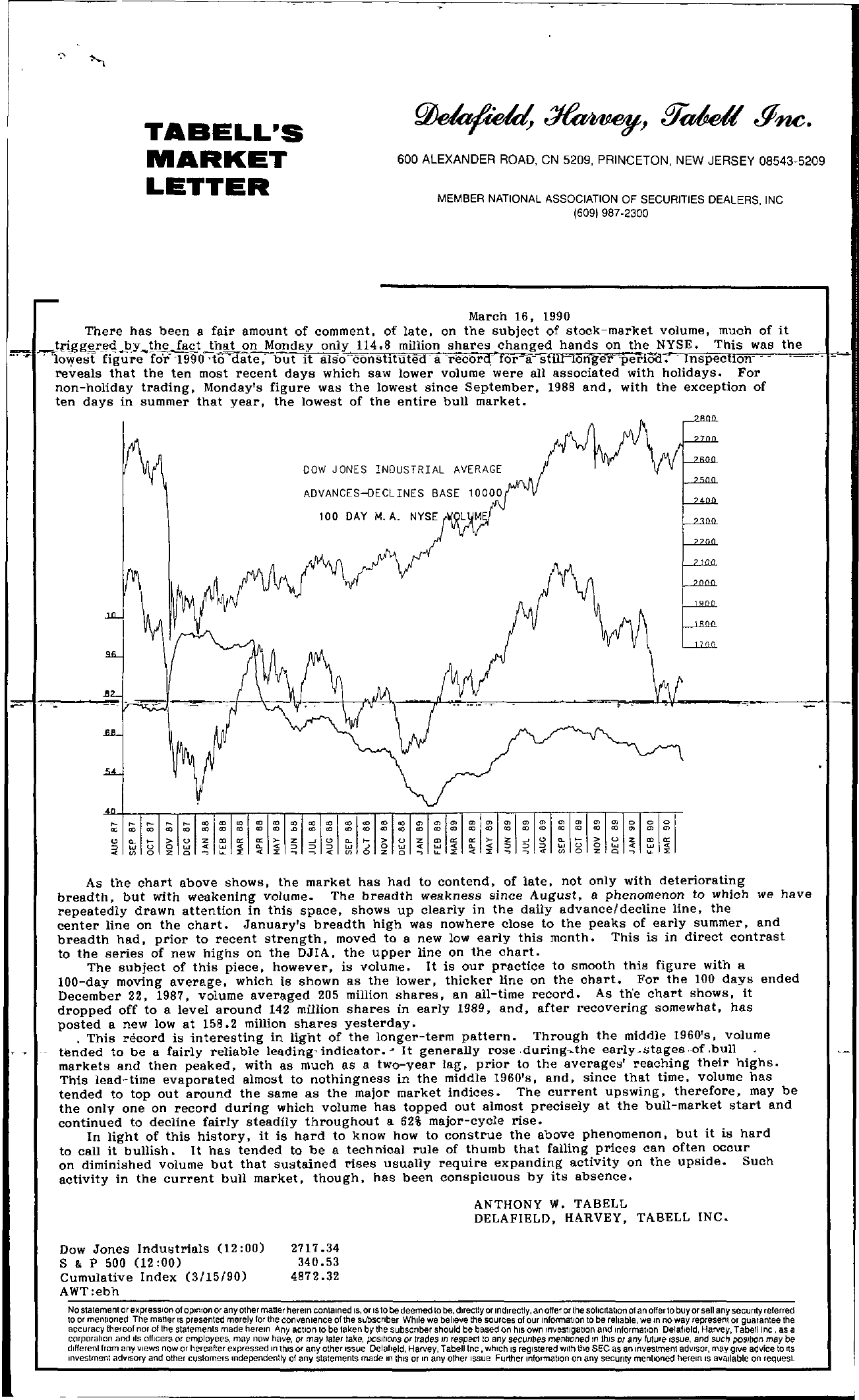 Tabell's Market Letter - March 16, 1990