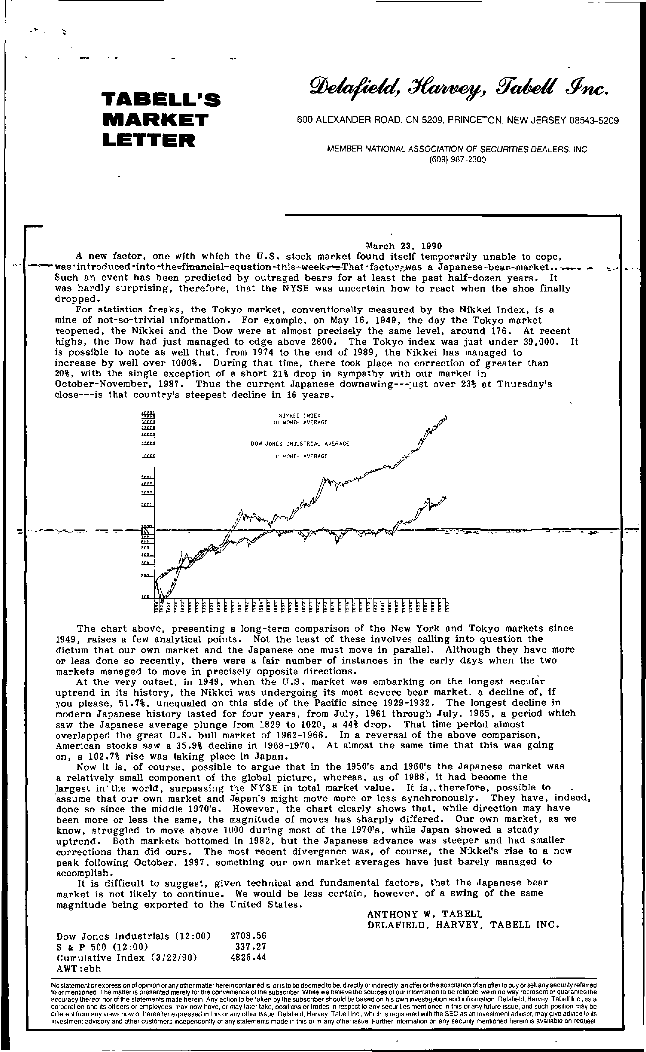 Tabell's Market Letter - March 23, 1990
