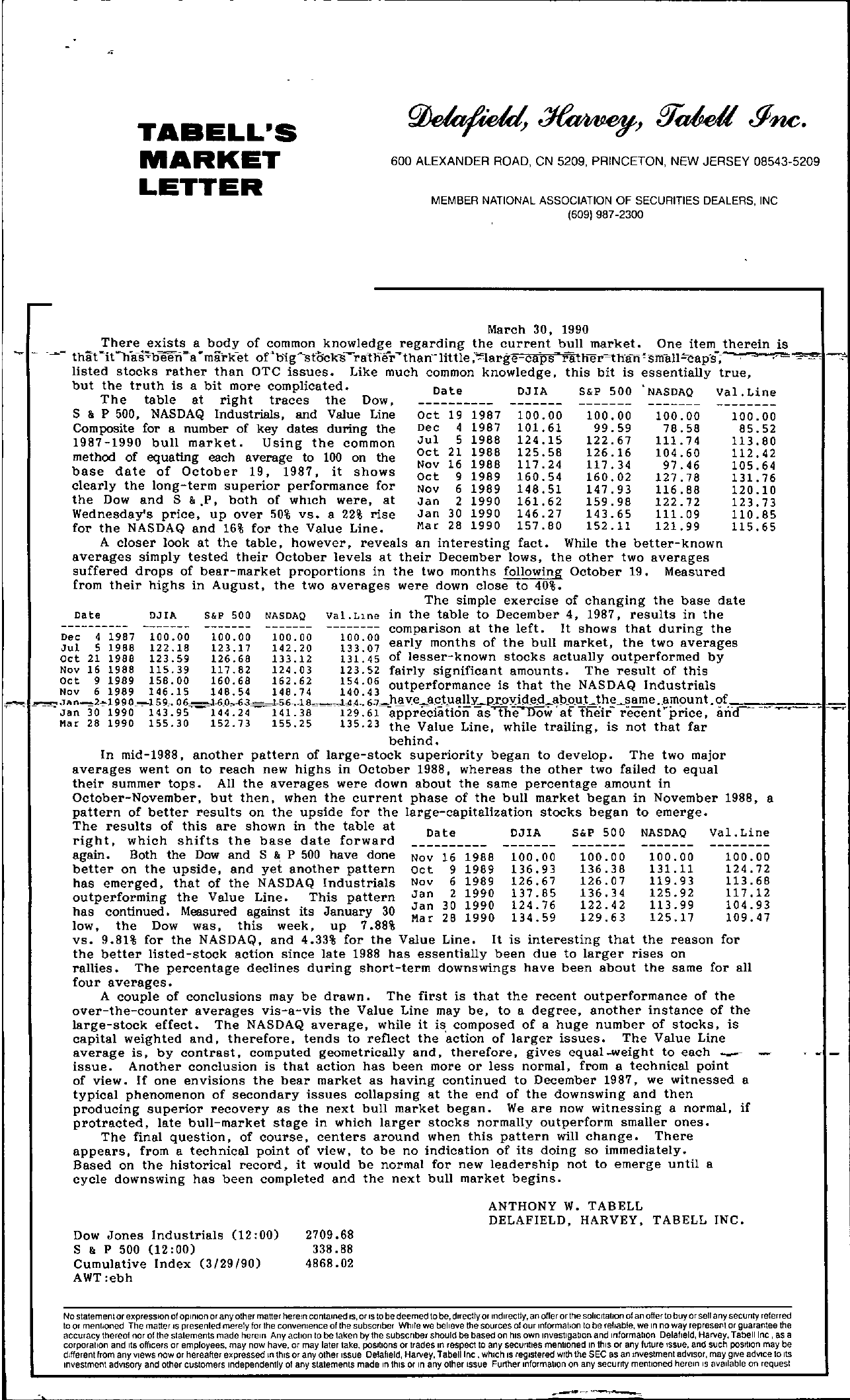 Tabell's Market Letter - March 30, 1990