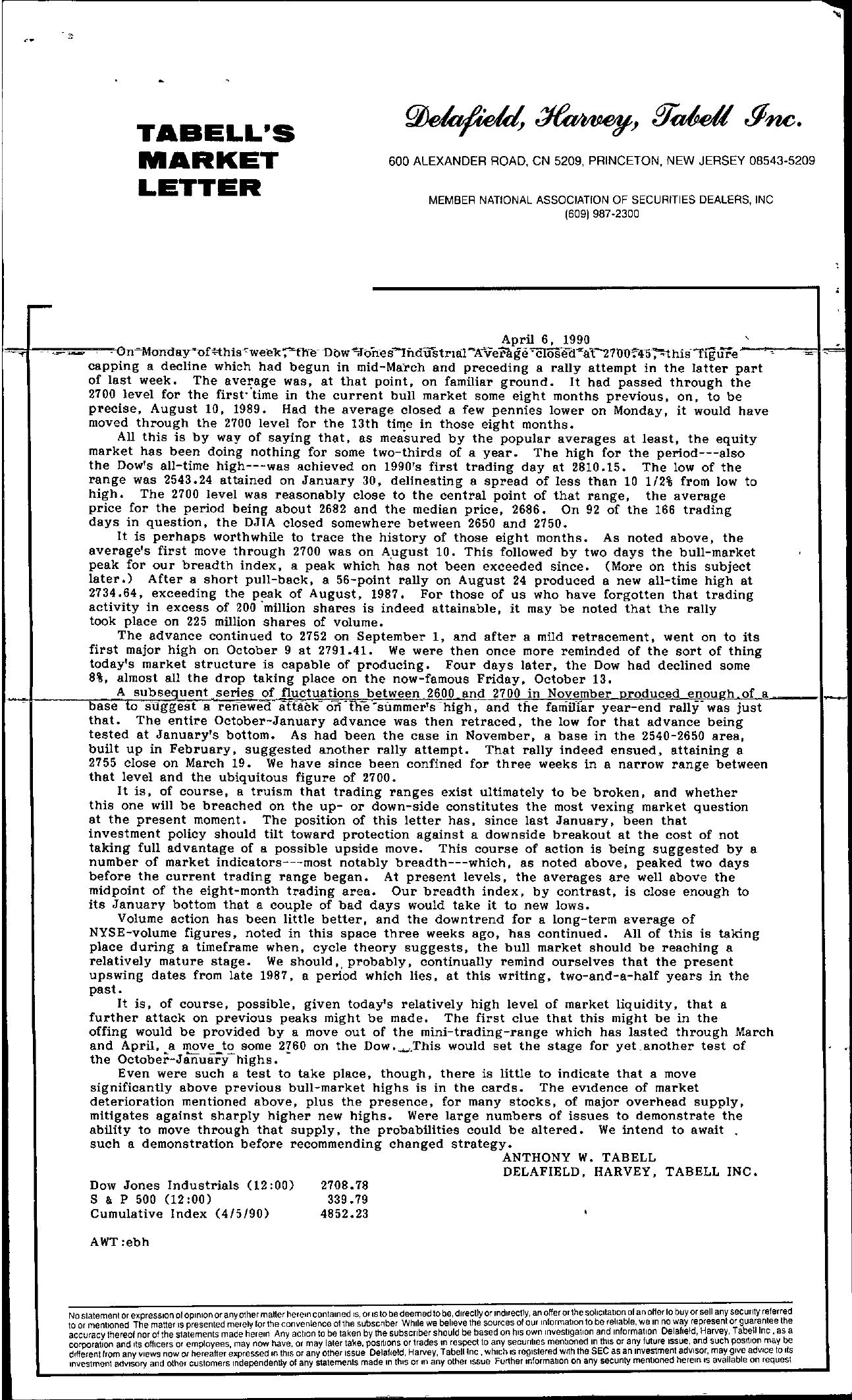 Tabell's Market Letter - April 06, 1990