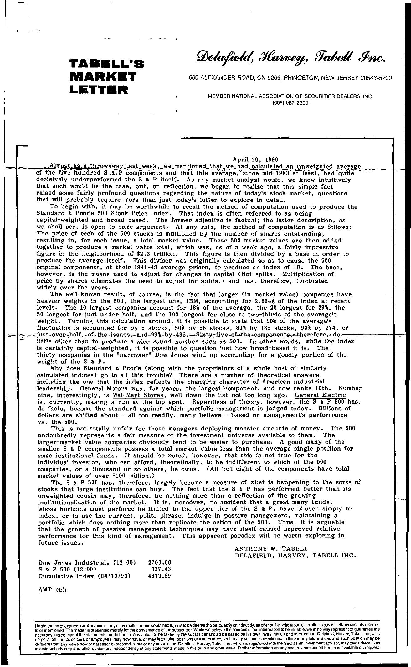 Tabell's Market Letter - April 20, 1990