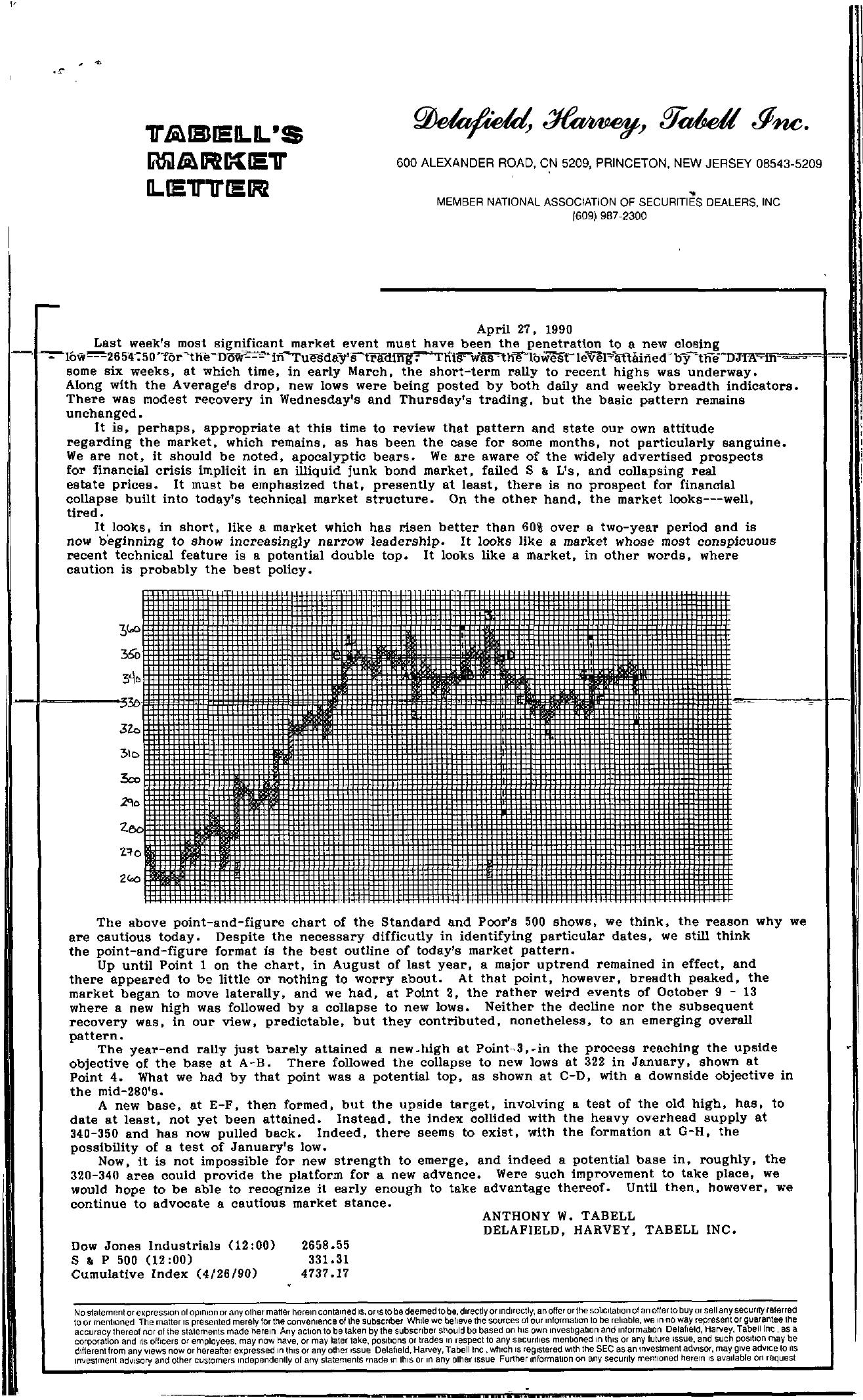 Tabell's Market Letter - April 27, 1990