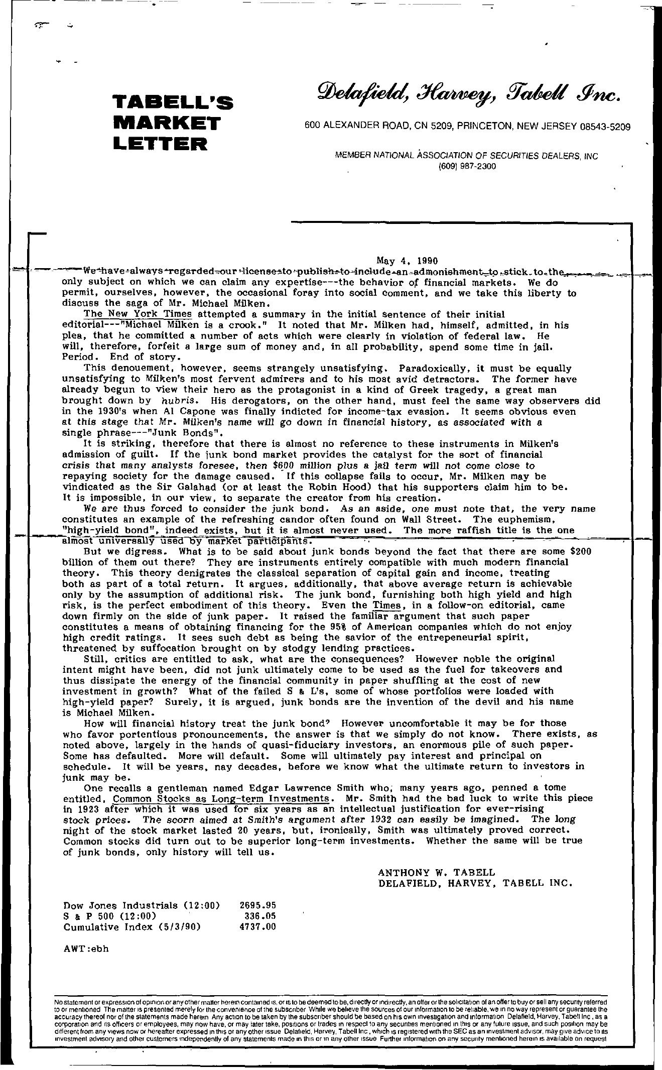 Tabell's Market Letter - May 04, 1990