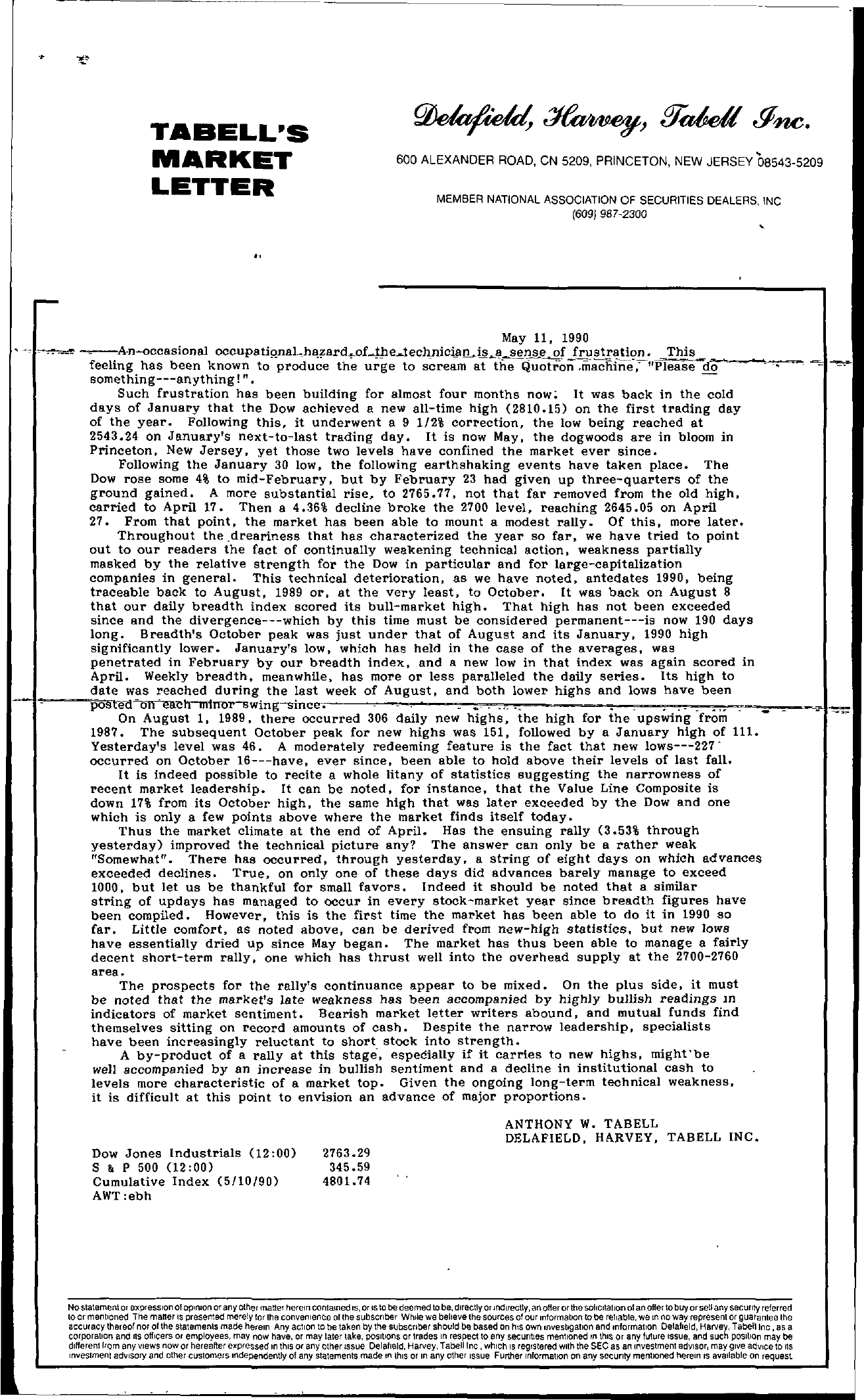 Tabell's Market Letter - May 11, 1990