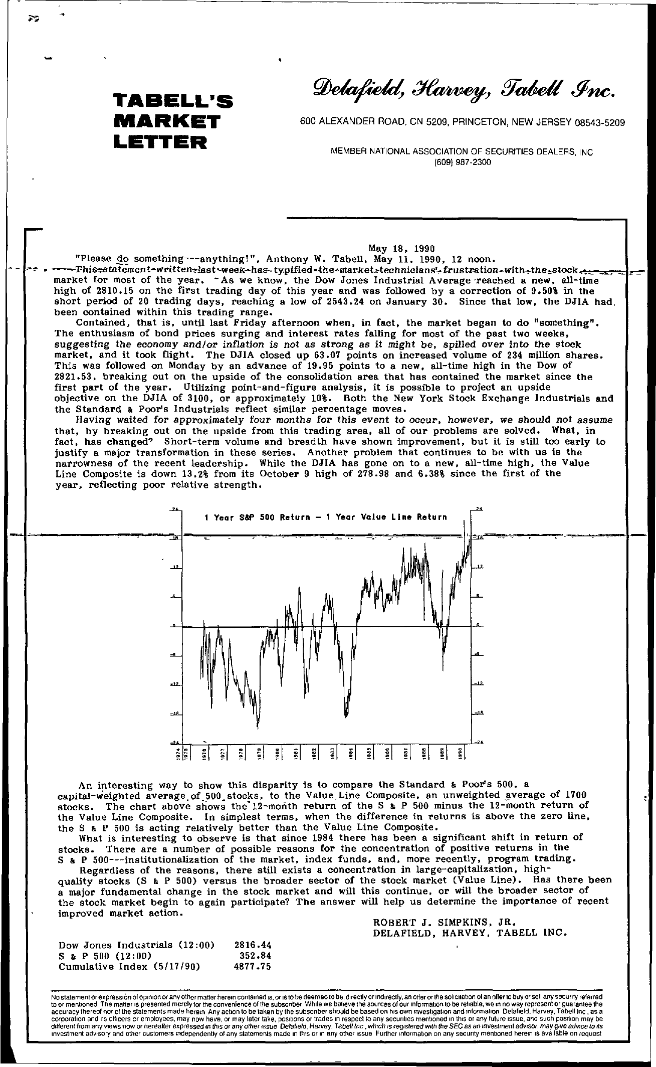 Tabell's Market Letter - May 18, 1990