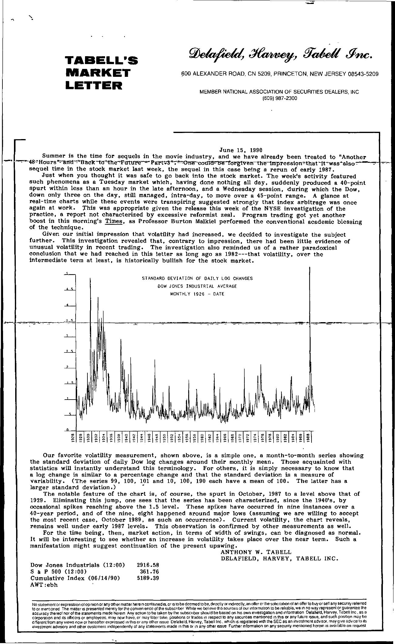 Tabell's Market Letter - June 15, 1990